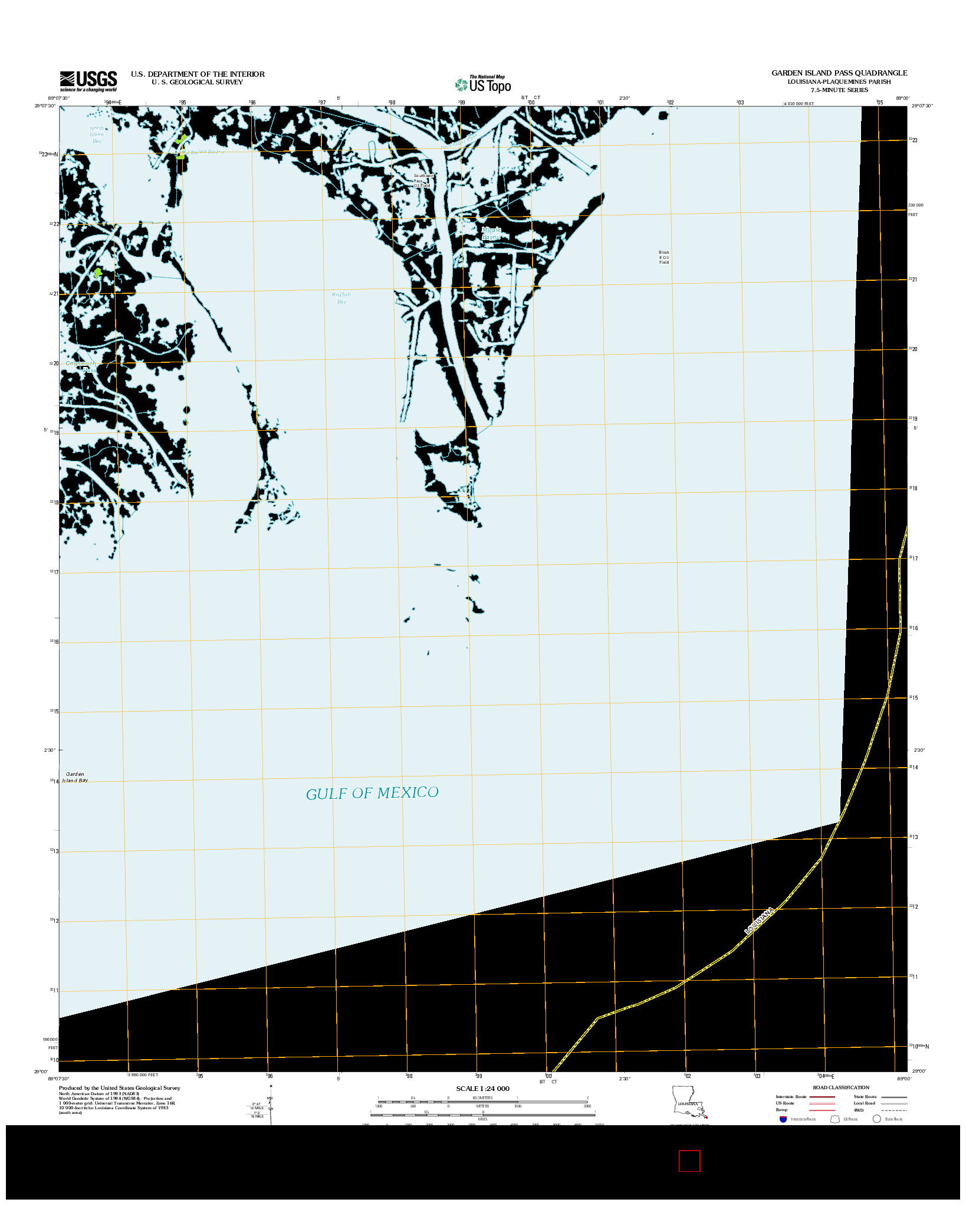 USGS US TOPO 7.5-MINUTE MAP FOR GARDEN ISLAND PASS, LA 2012