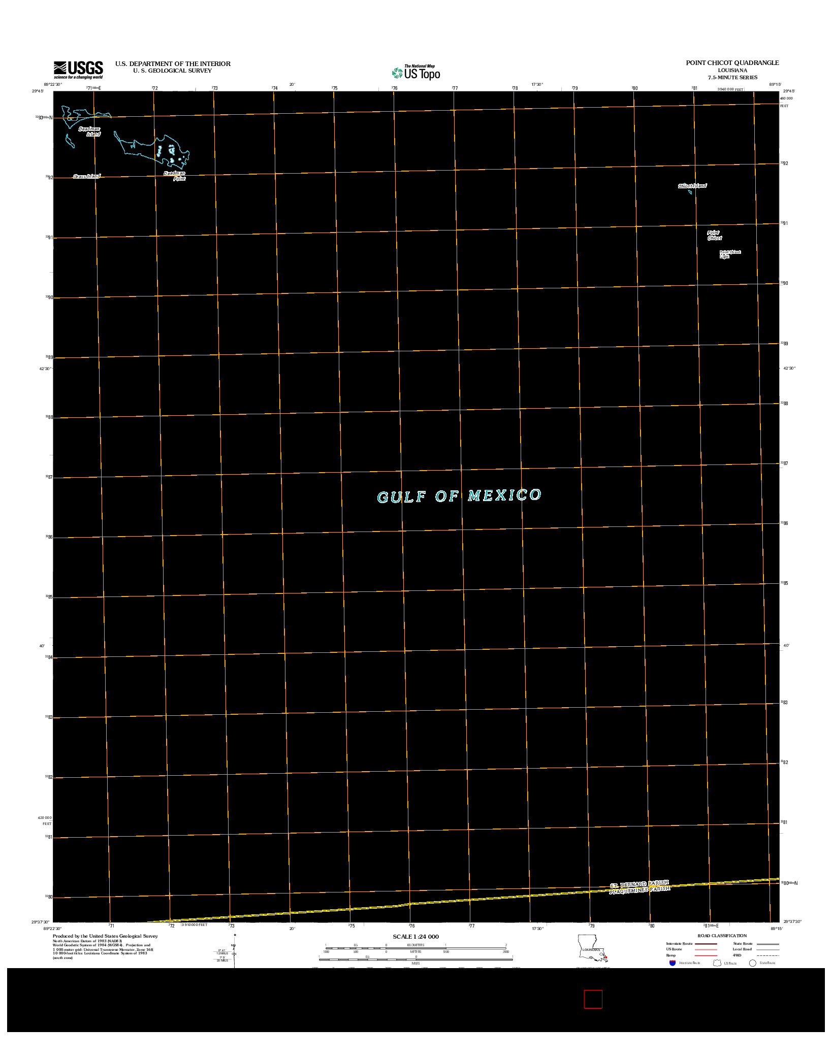 USGS US TOPO 7.5-MINUTE MAP FOR POINT CHICOT, LA 2012
