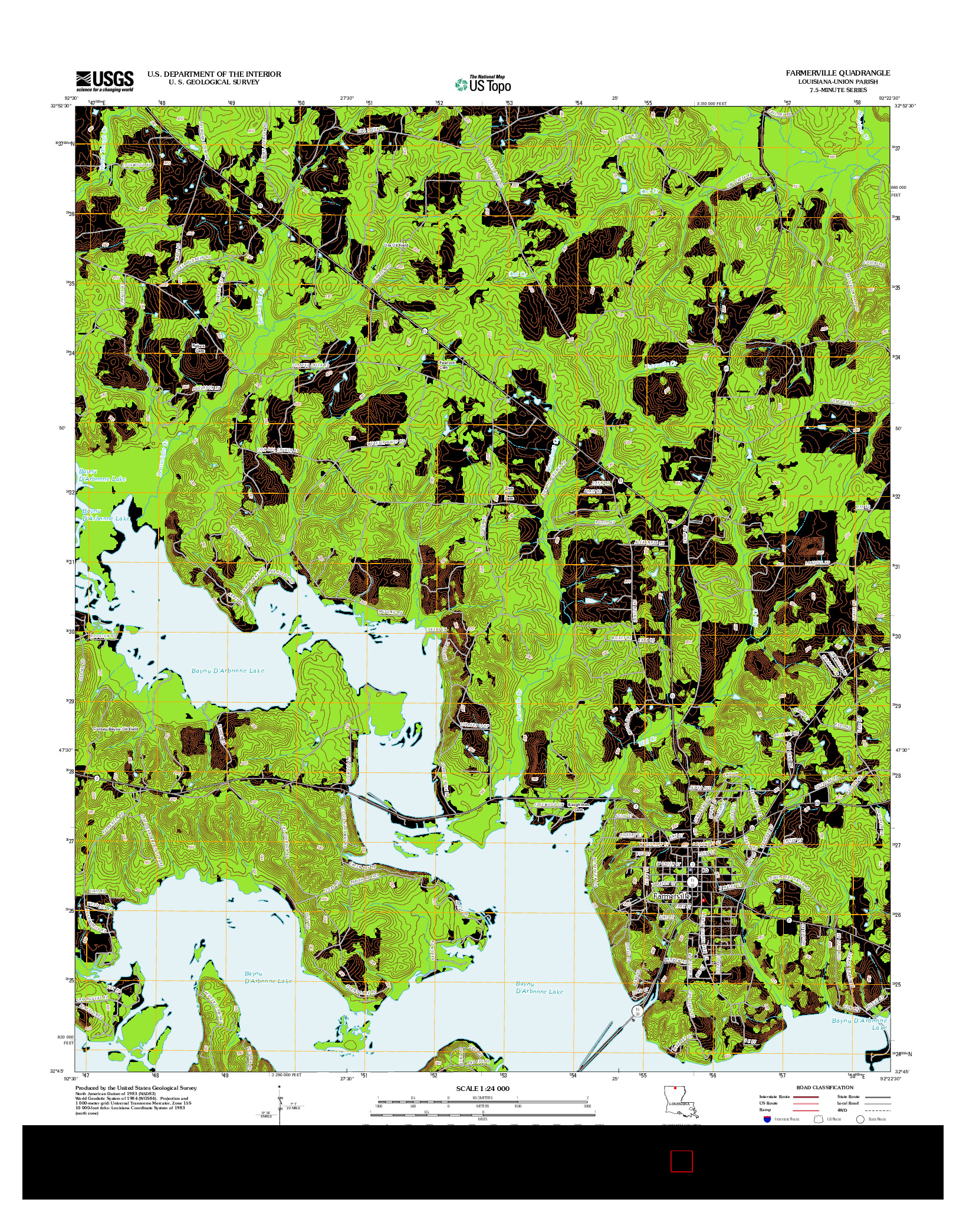 USGS US TOPO 7.5-MINUTE MAP FOR FARMERVILLE, LA 2012