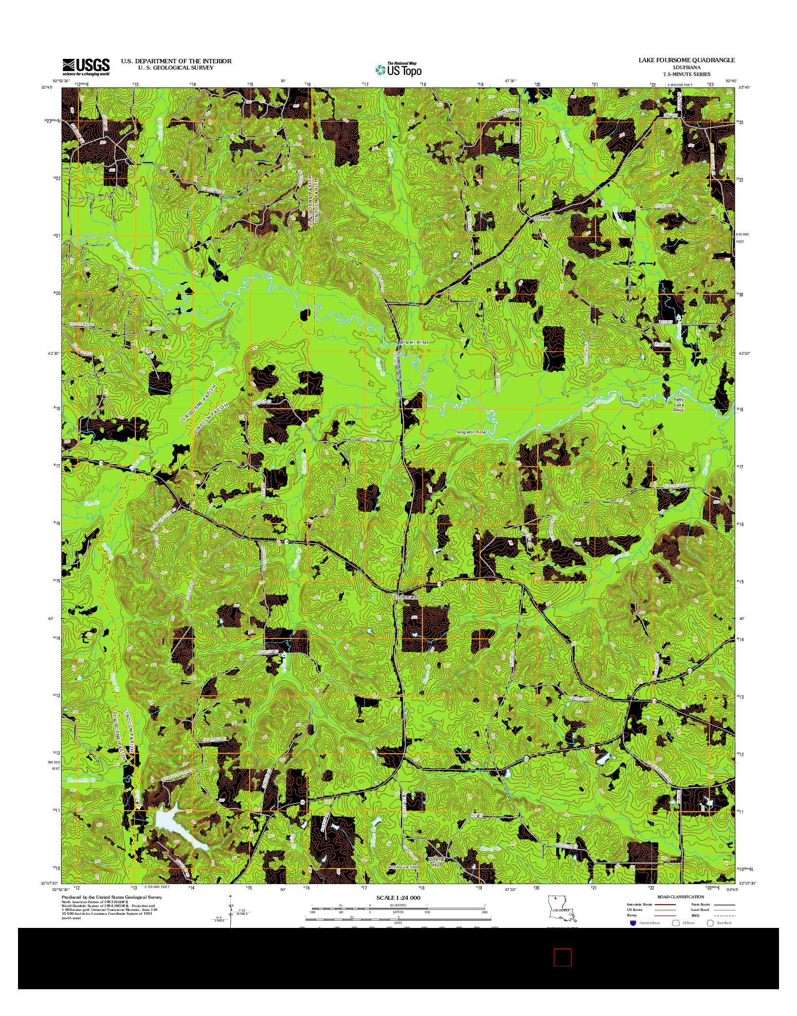 USGS US TOPO 7.5-MINUTE MAP FOR LAKE FOURSOME, LA 2012