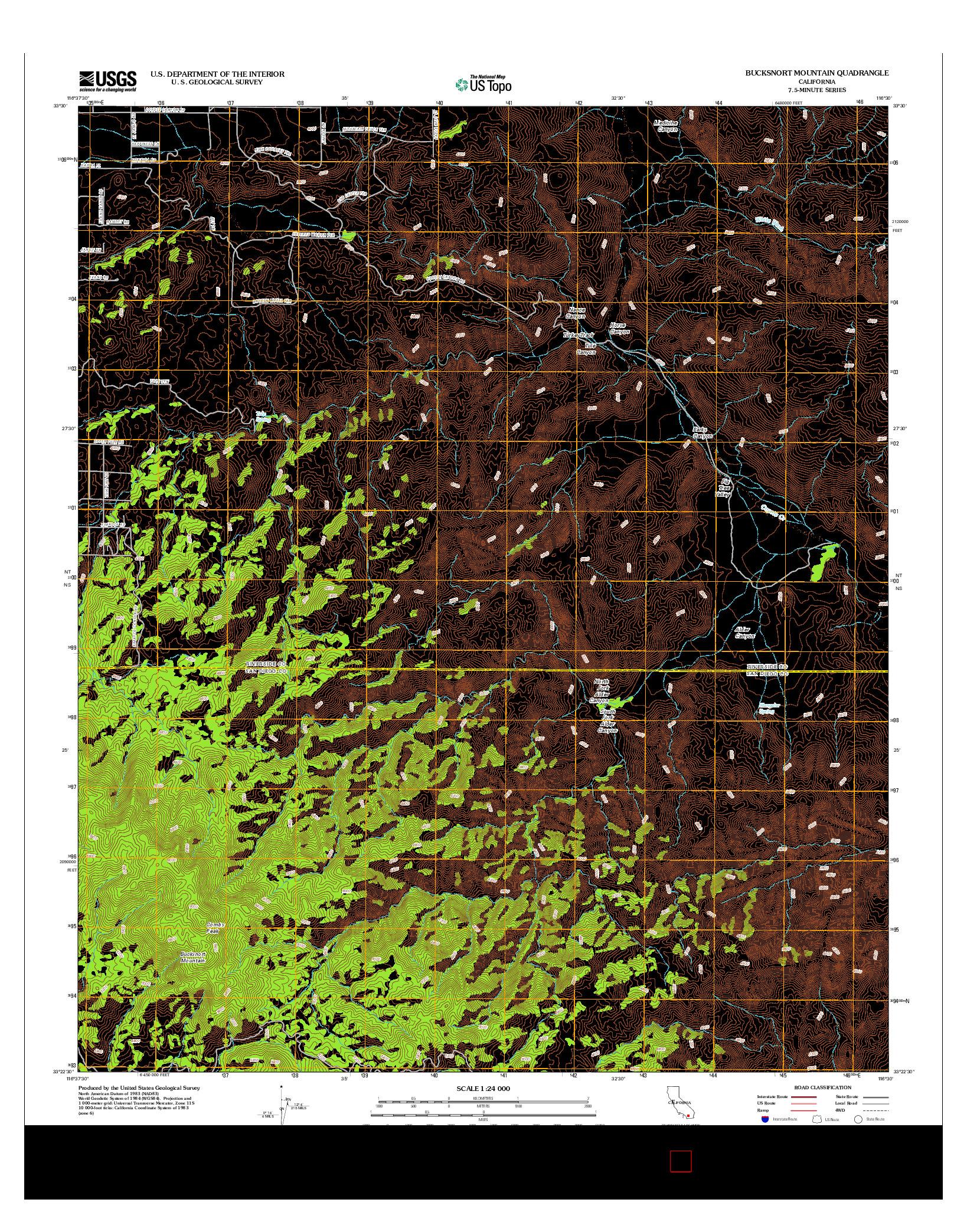 USGS US TOPO 7.5-MINUTE MAP FOR BUCKSNORT MOUNTAIN, CA 2012