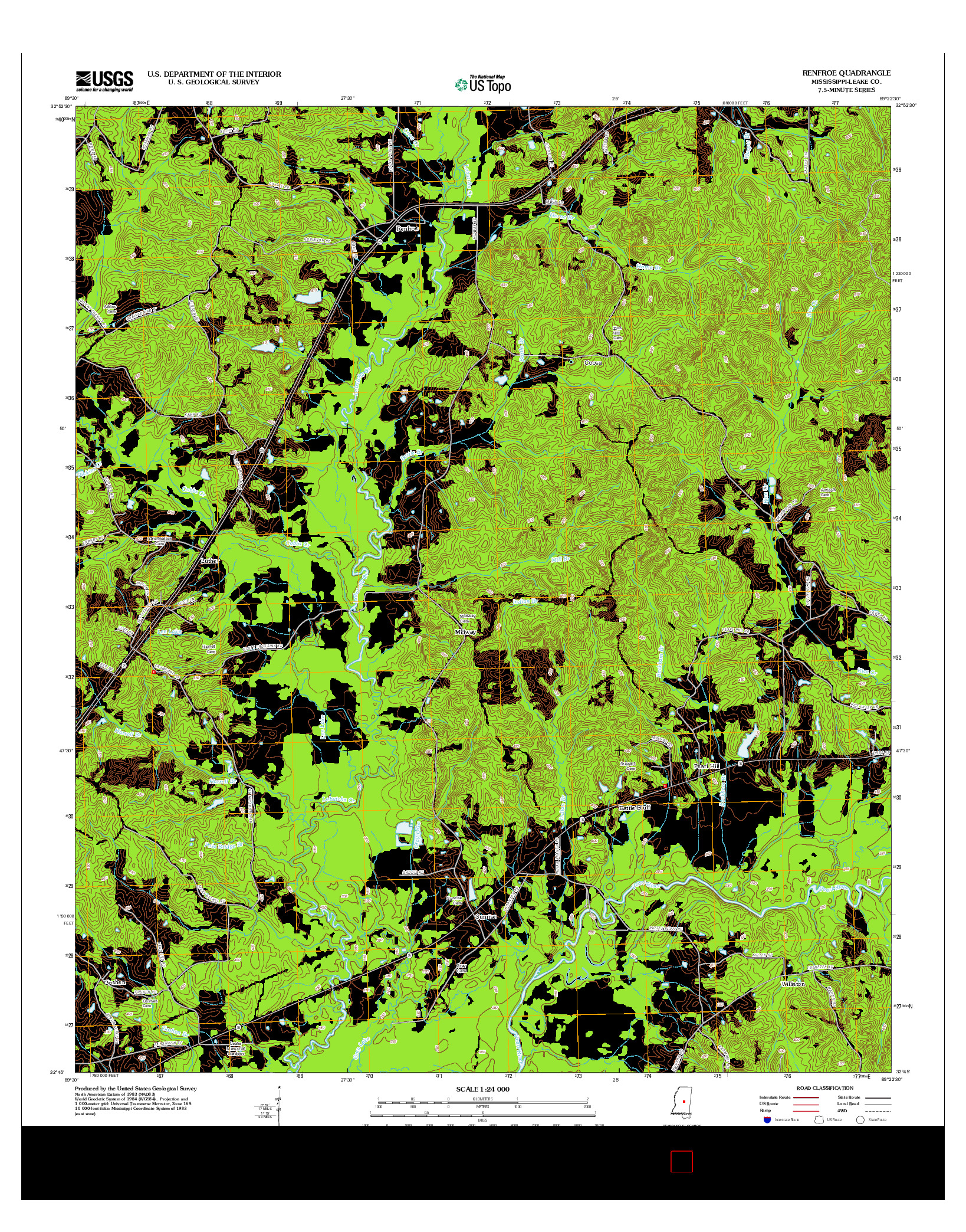 USGS US TOPO 7.5-MINUTE MAP FOR RENFROE, MS 2012