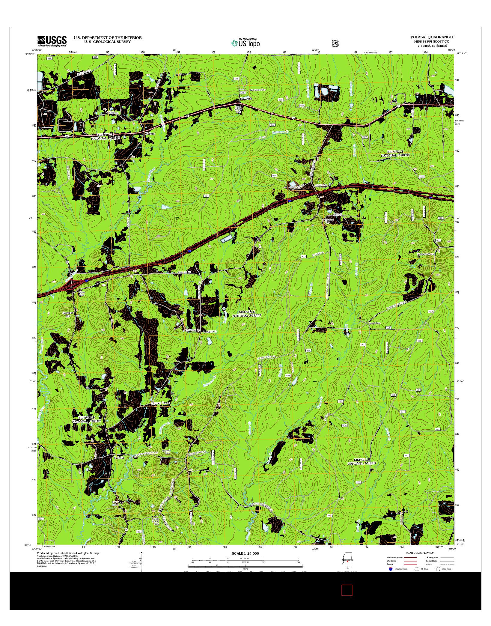 USGS US TOPO 7.5-MINUTE MAP FOR PULASKI, MS 2012