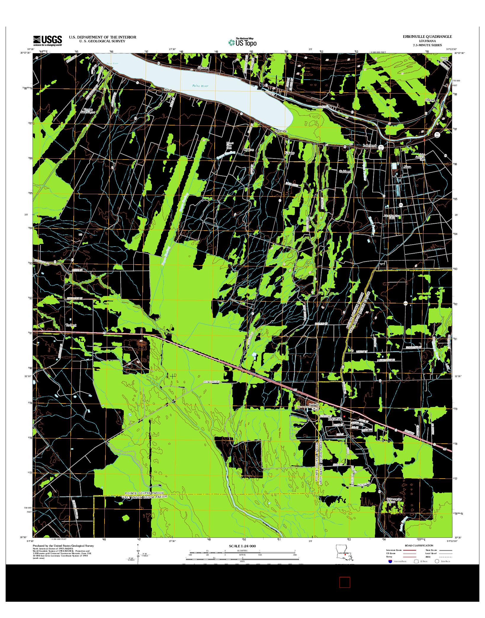 USGS US TOPO 7.5-MINUTE MAP FOR ERWINVILLE, LA 2012