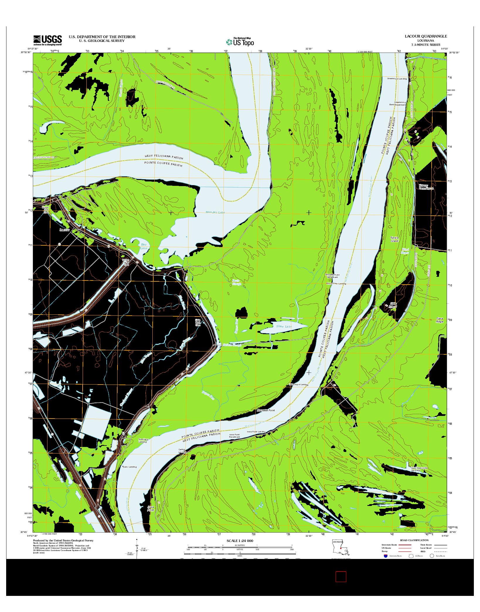 USGS US TOPO 7.5-MINUTE MAP FOR LACOUR, LA 2012