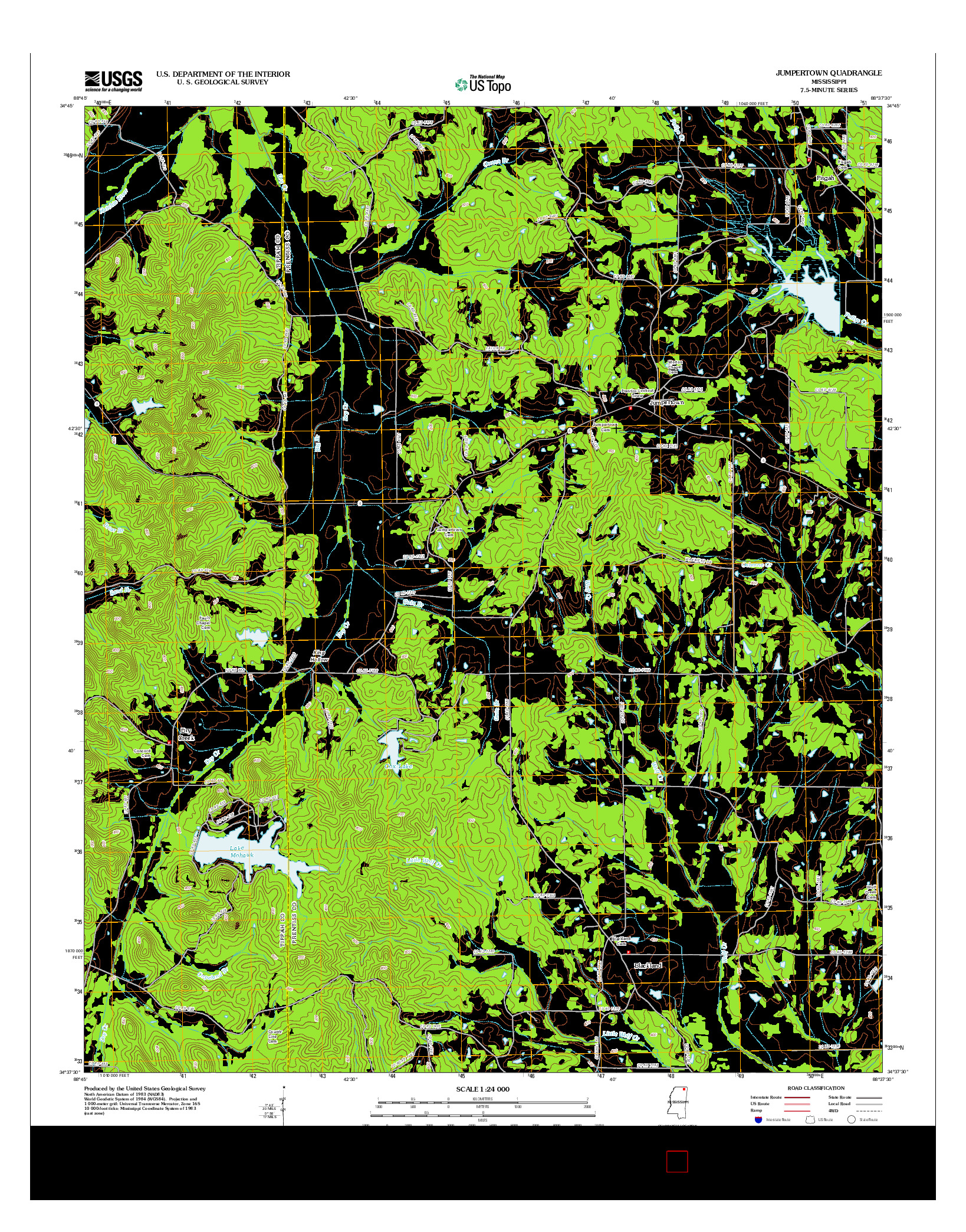 USGS US TOPO 7.5-MINUTE MAP FOR JUMPERTOWN, MS 2012
