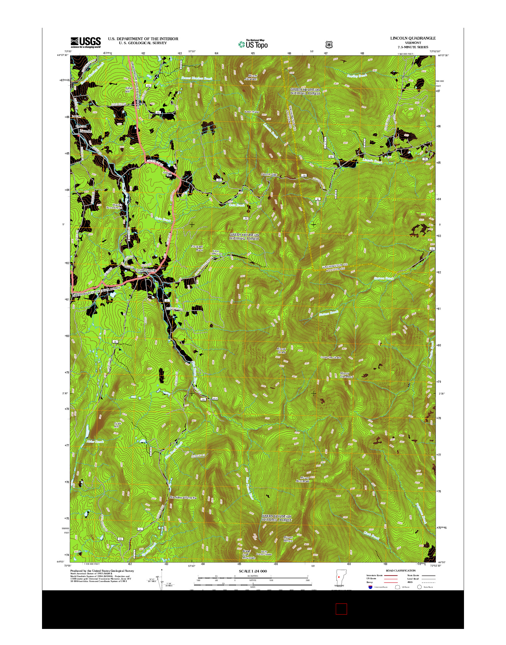 USGS US TOPO 7.5-MINUTE MAP FOR LINCOLN, VT 2012