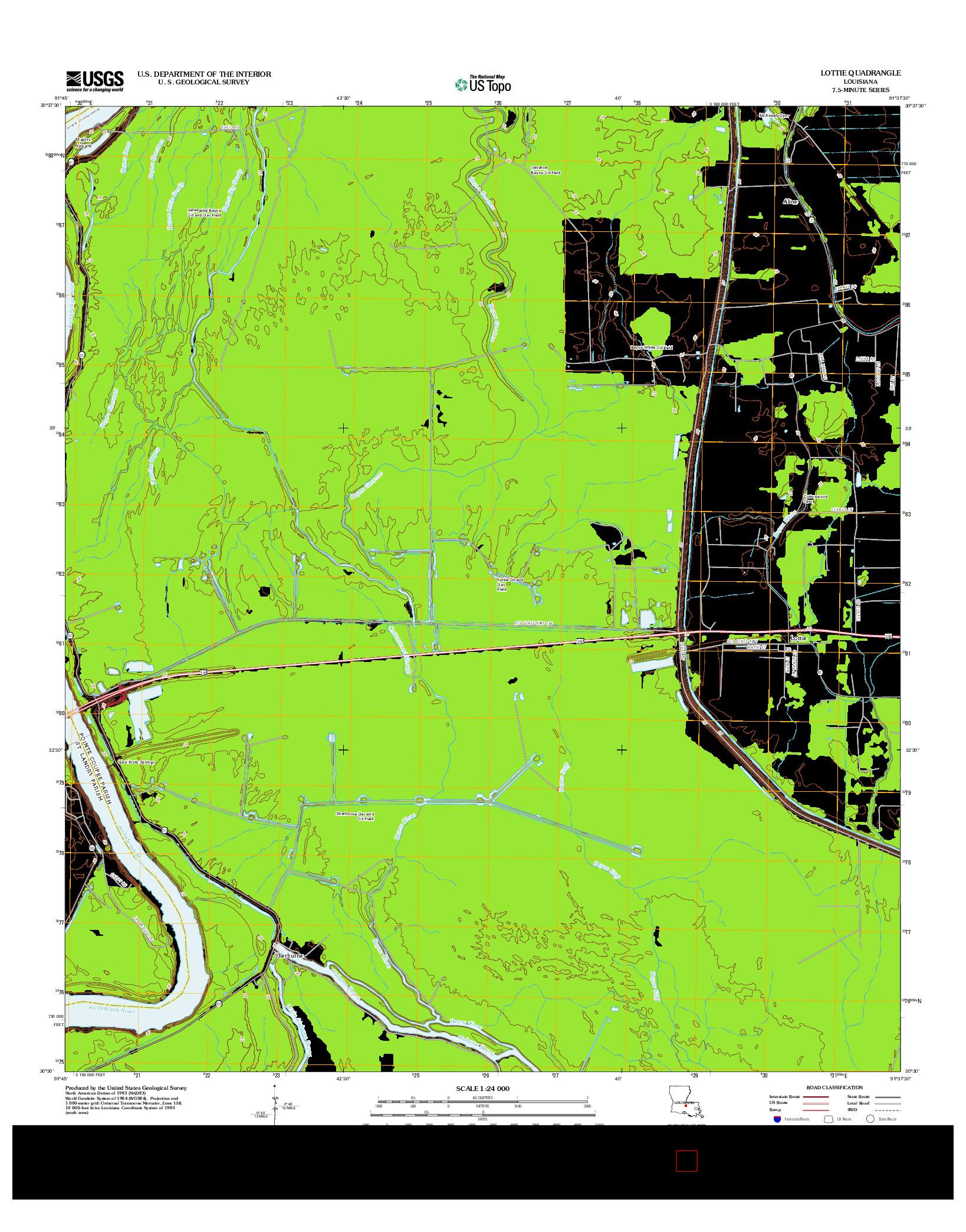 USGS US TOPO 7.5-MINUTE MAP FOR LOTTIE, LA 2012