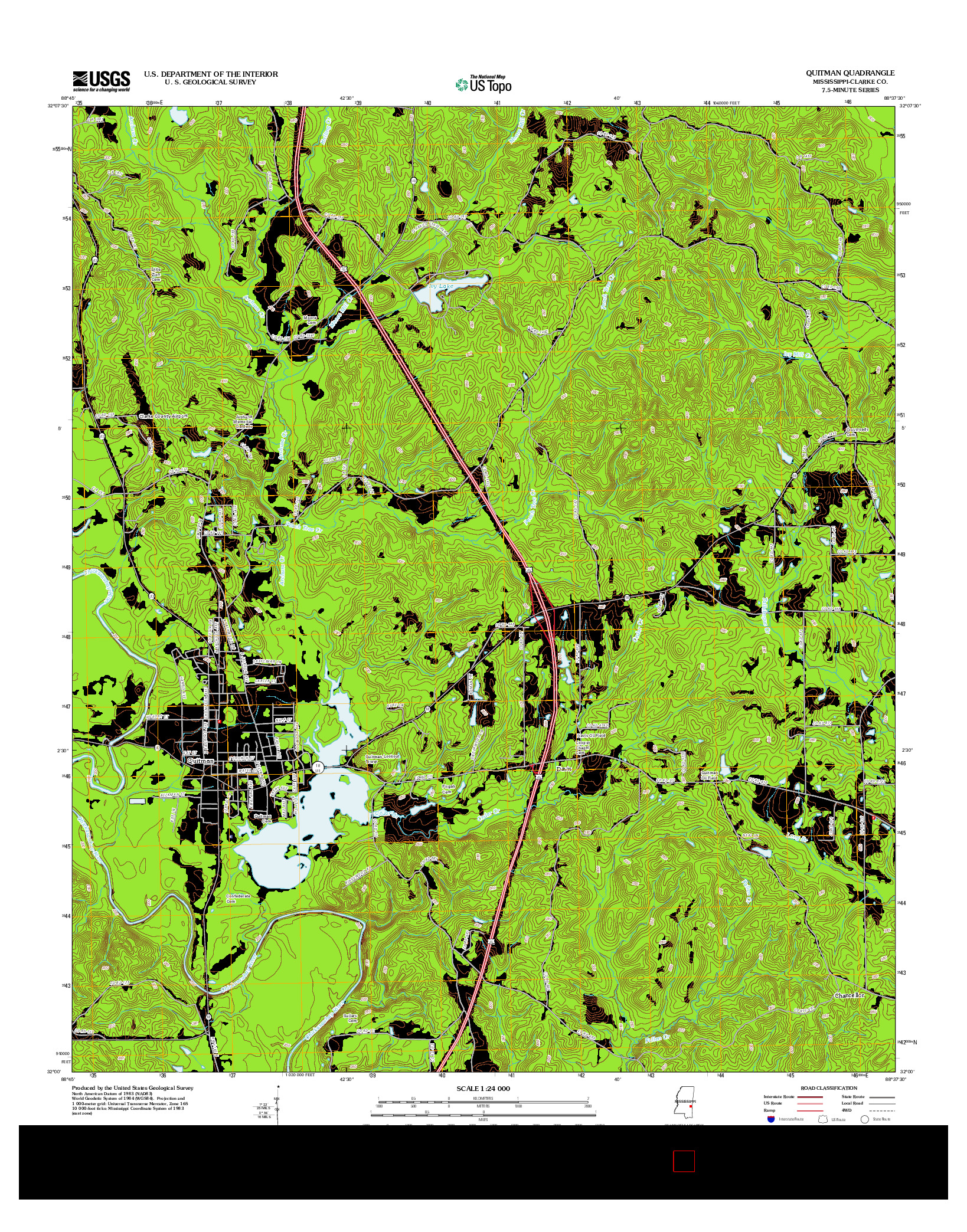 USGS US TOPO 7.5-MINUTE MAP FOR QUITMAN, MS 2012