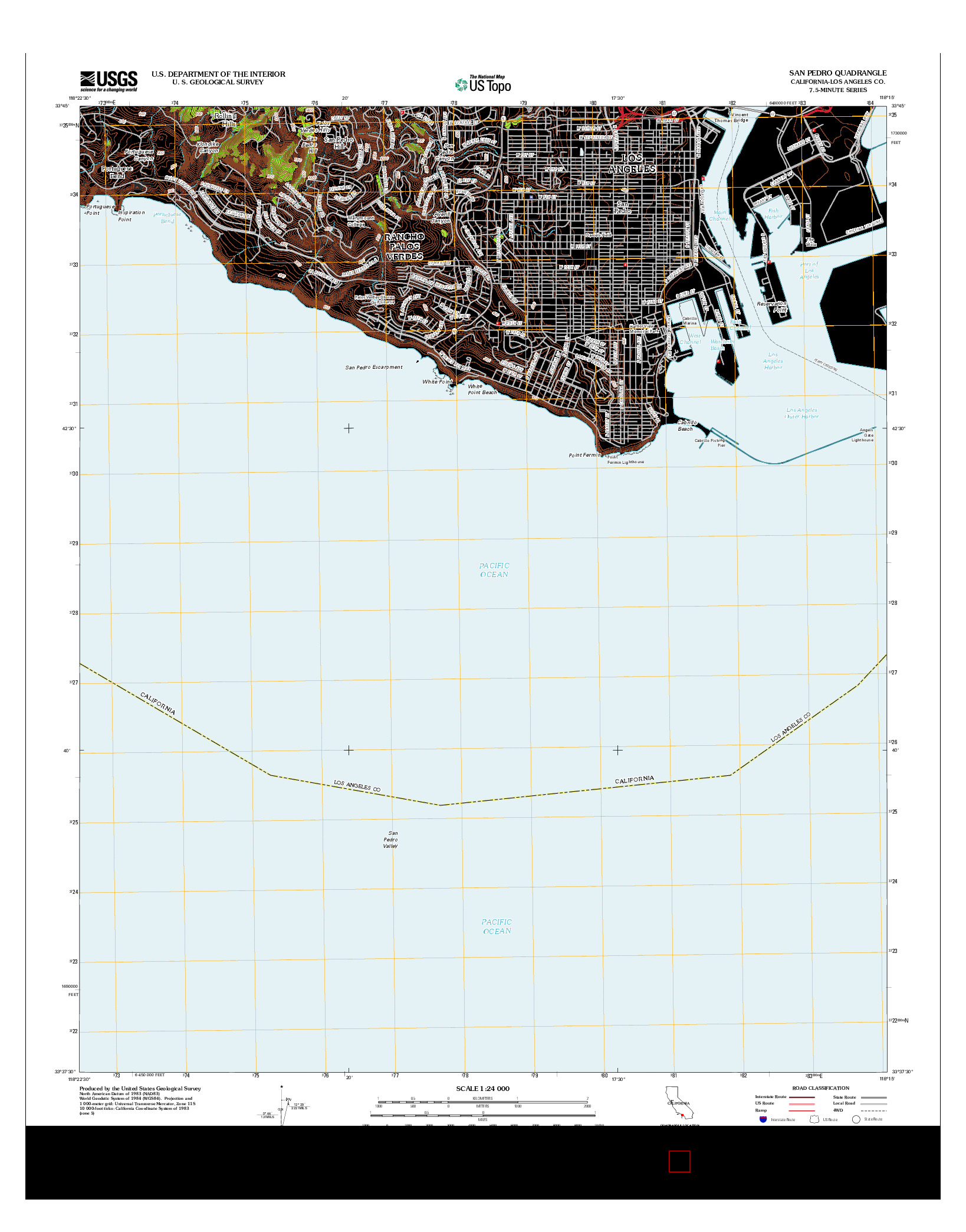 USGS US TOPO 7.5-MINUTE MAP FOR SAN PEDRO, CA 2012