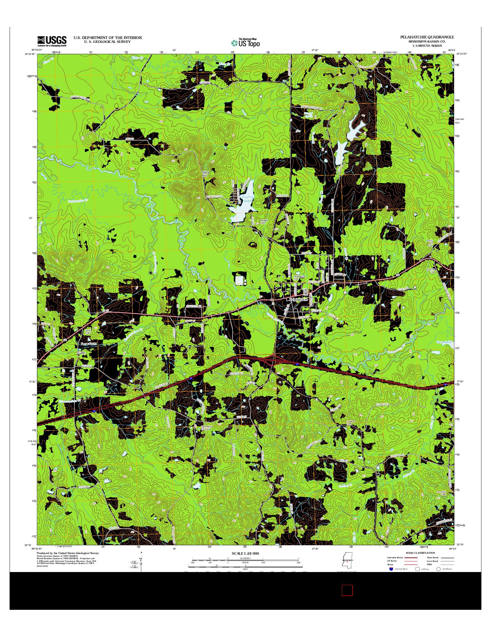 USGS US TOPO 7.5-MINUTE MAP FOR PELAHATCHIE, MS 2012
