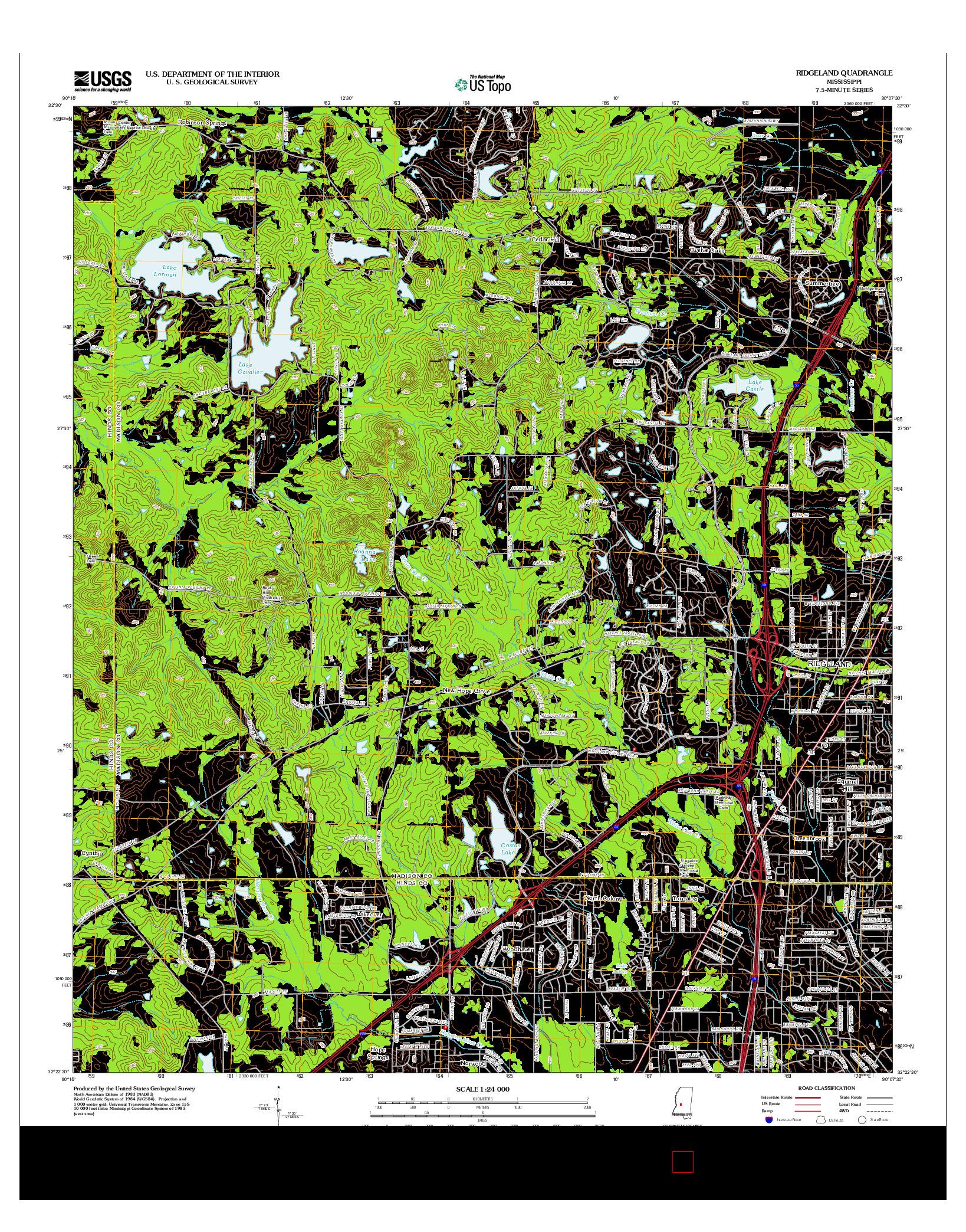 USGS US TOPO 7.5-MINUTE MAP FOR RIDGELAND, MS 2012