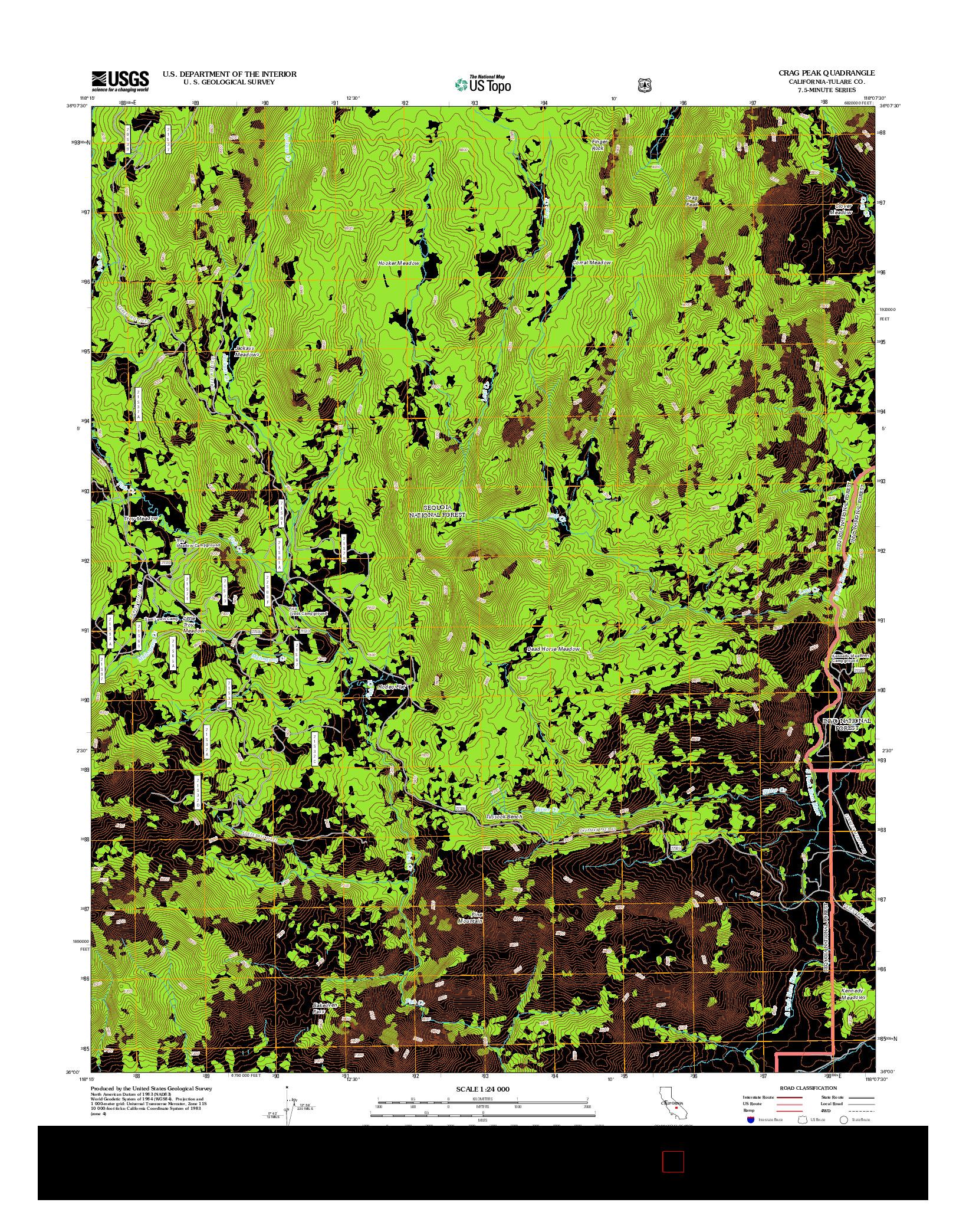 USGS US TOPO 7.5-MINUTE MAP FOR CRAG PEAK, CA 2012