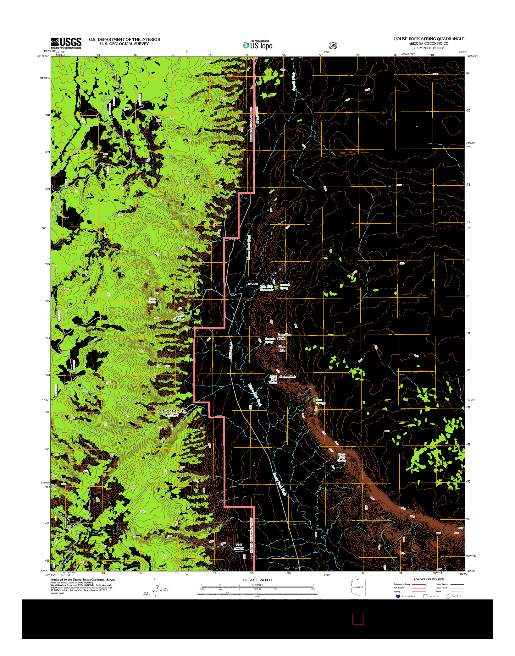 USGS US TOPO 7.5-MINUTE MAP FOR HOUSE ROCK SPRING, AZ 2012