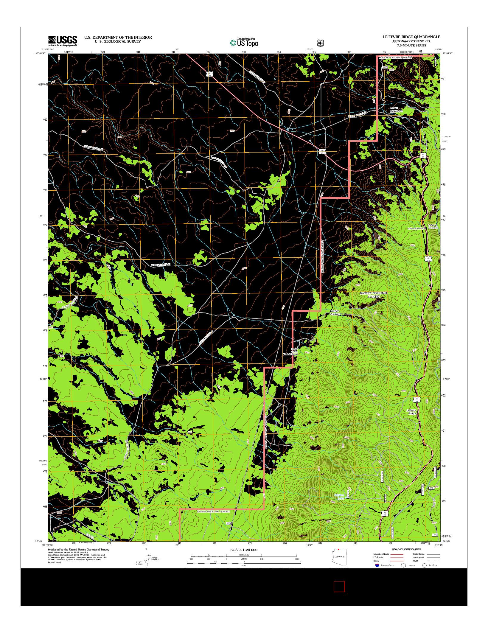 USGS US TOPO 7.5-MINUTE MAP FOR LE FEVRE RIDGE, AZ 2012