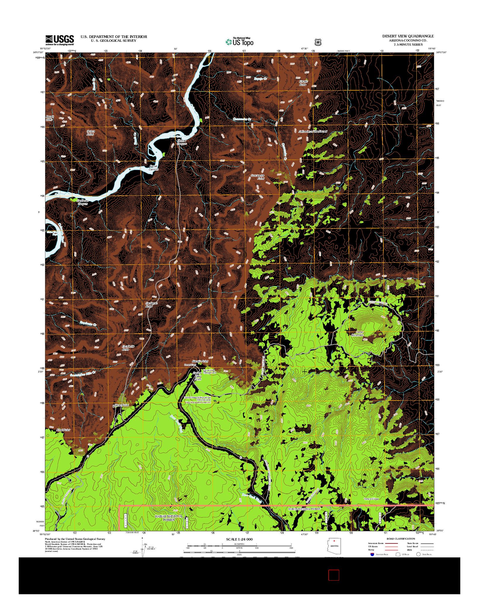 USGS US TOPO 7.5-MINUTE MAP FOR DESERT VIEW, AZ 2012