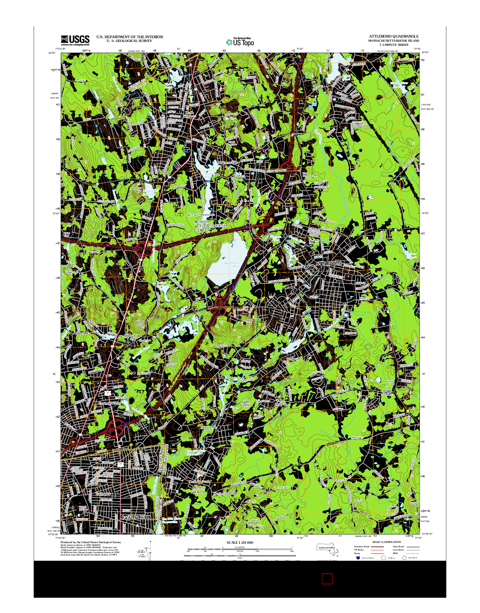 USGS US TOPO 7.5-MINUTE MAP FOR ATTLEBORO, MA-RI 2012