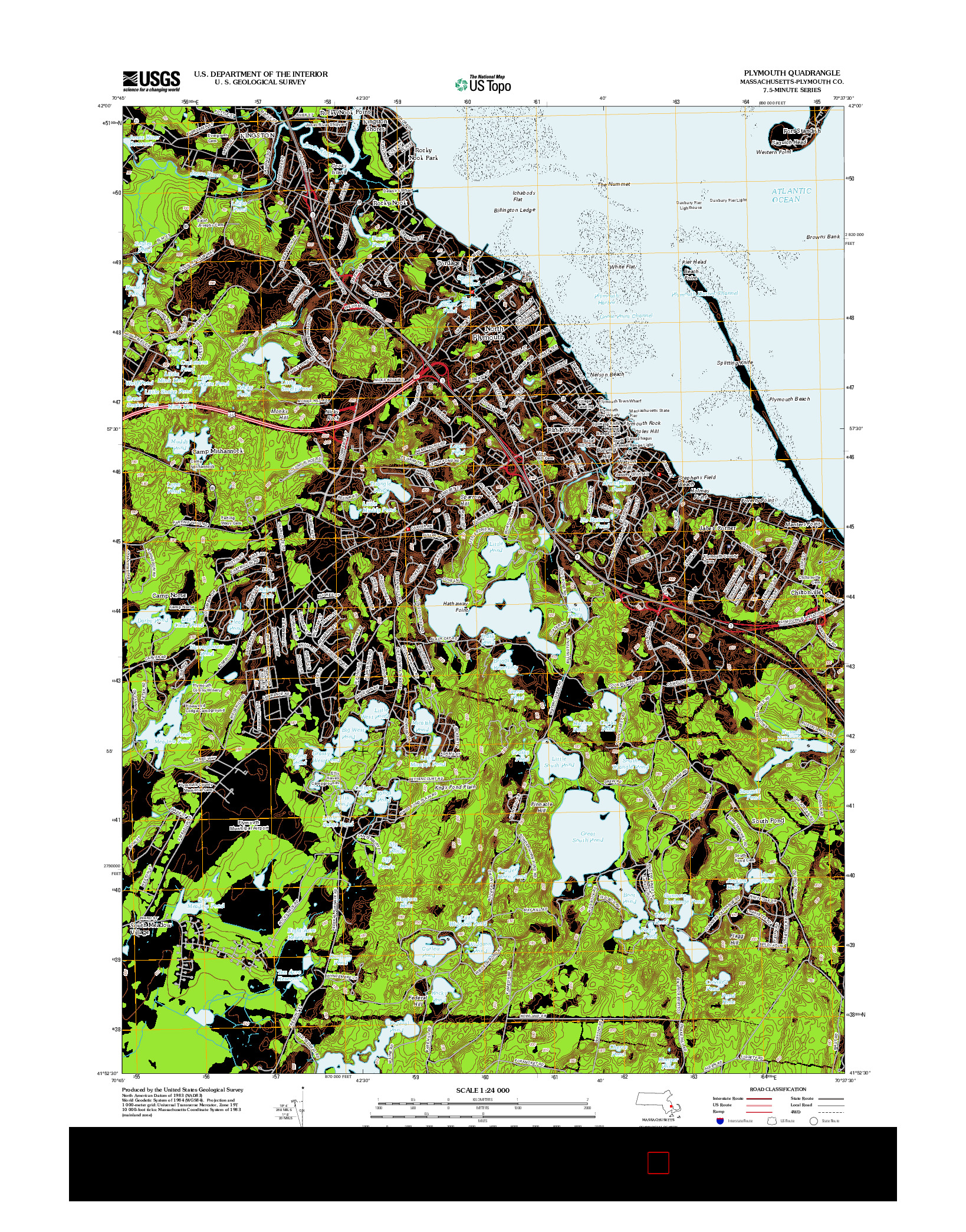 USGS US TOPO 7.5-MINUTE MAP FOR PLYMOUTH, MA 2012
