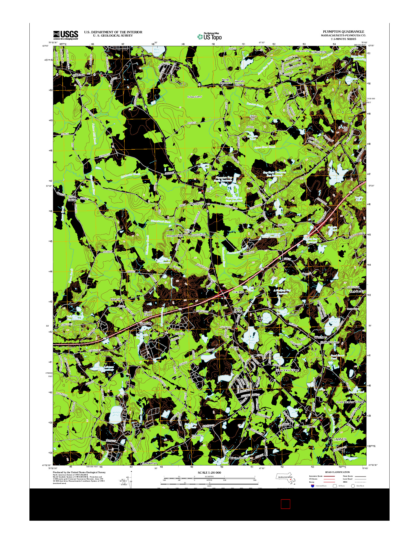 USGS US TOPO 7.5-MINUTE MAP FOR PLYMPTON, MA 2012