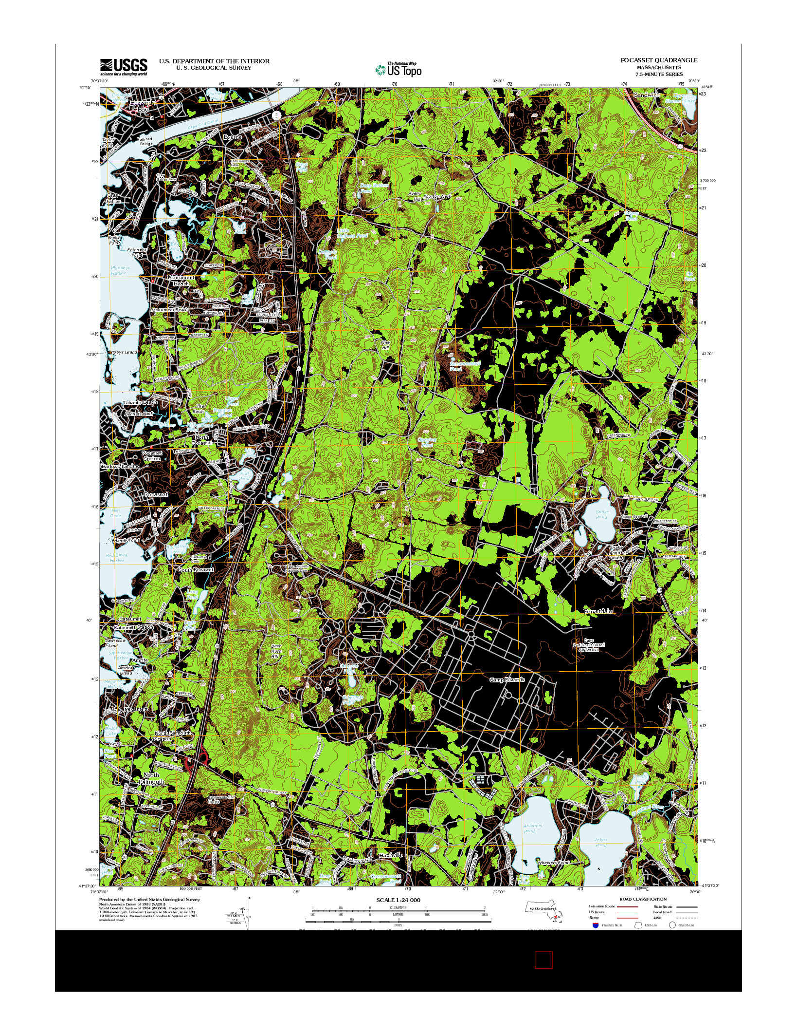 USGS US TOPO 7.5-MINUTE MAP FOR POCASSET, MA 2012