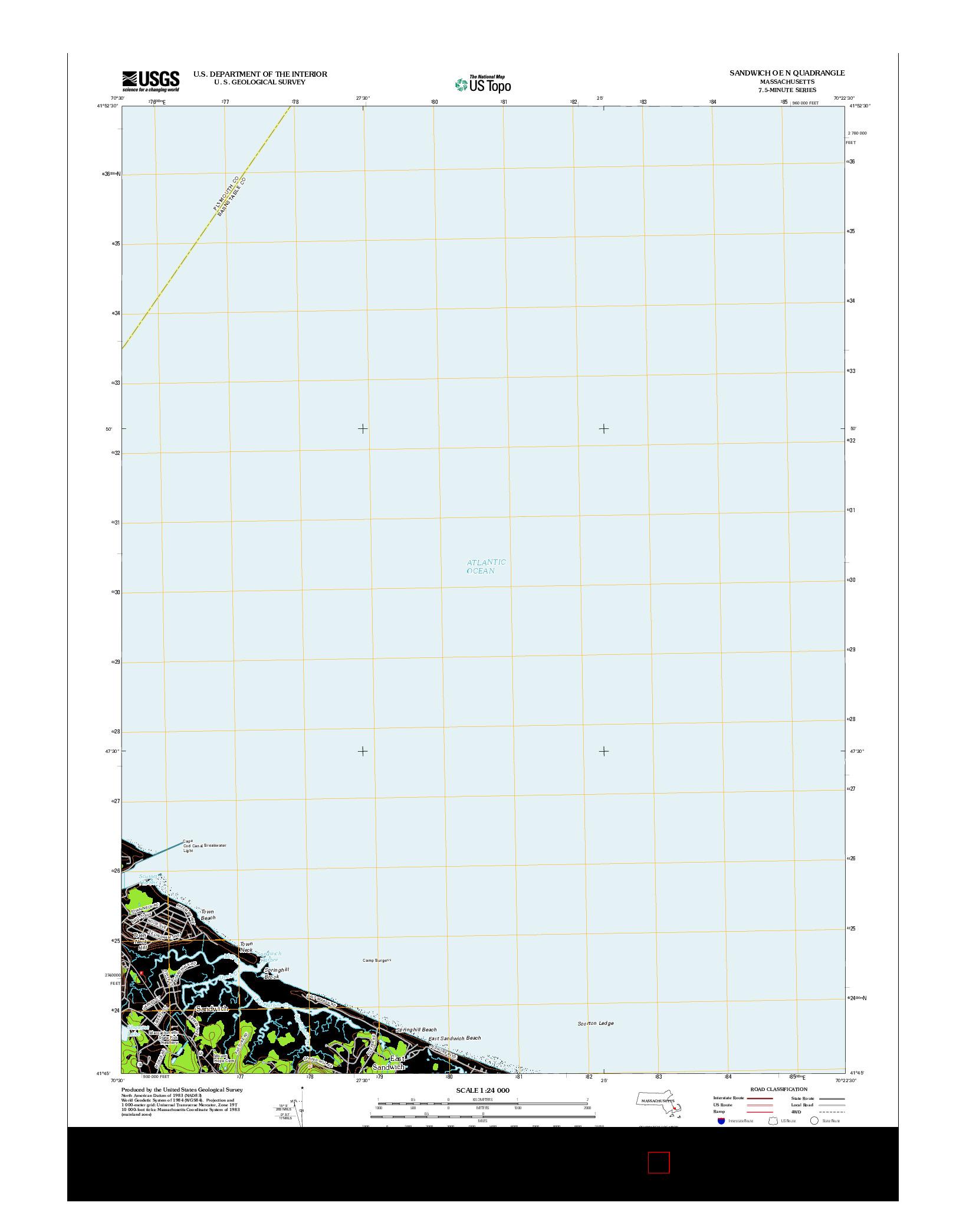 USGS US TOPO 7.5-MINUTE MAP FOR SANDWICH OE N, MA 2012
