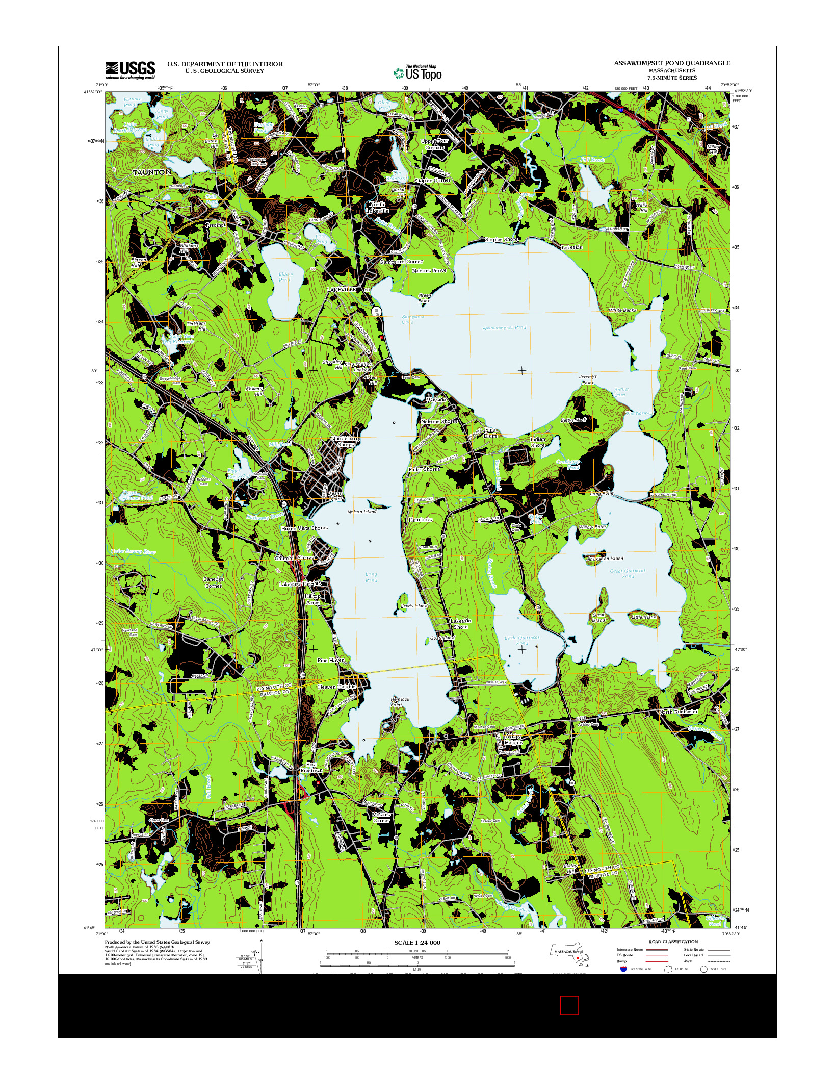 USGS US TOPO 7.5-MINUTE MAP FOR ASSAWOMPSET POND, MA 2012