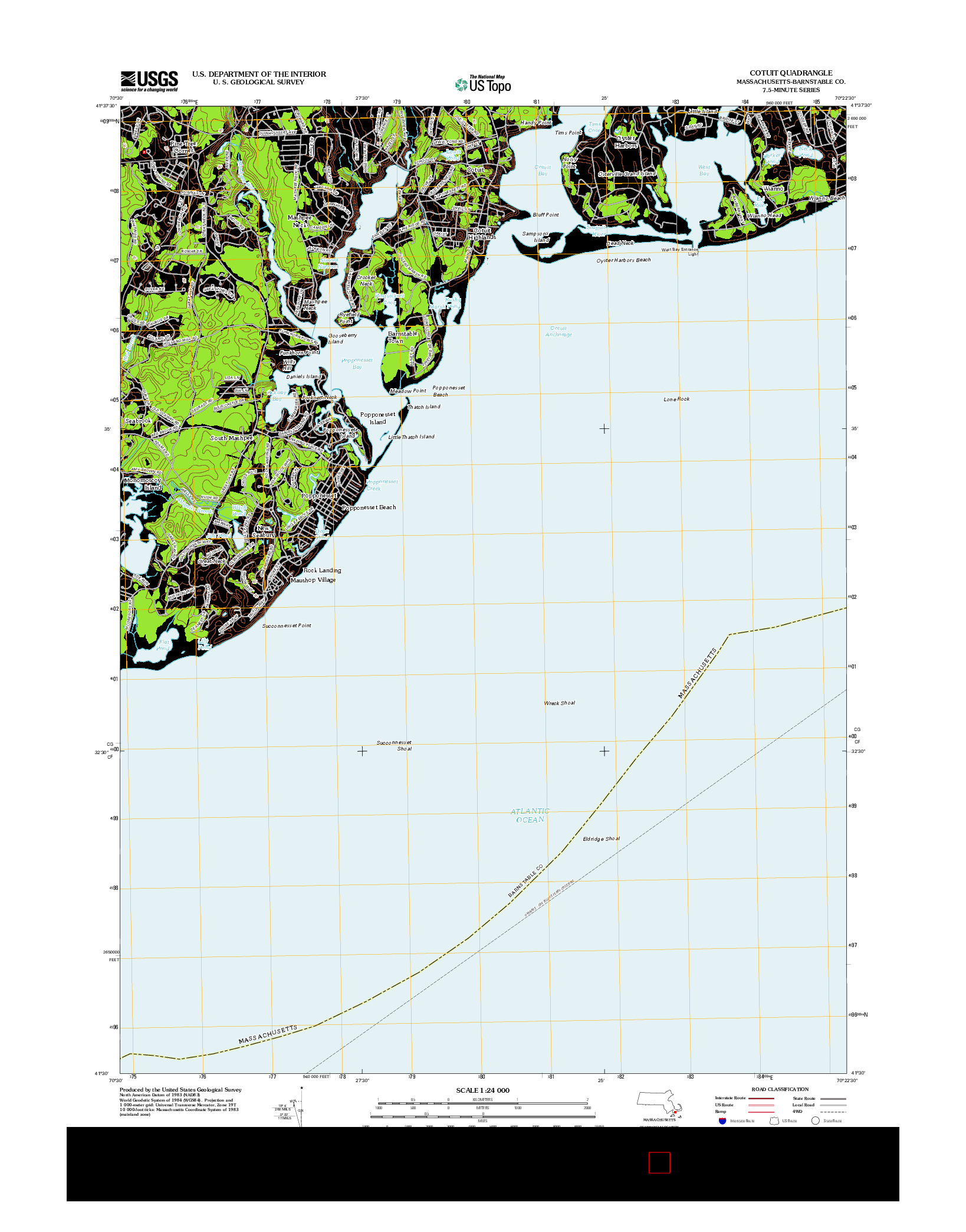 USGS US TOPO 7.5-MINUTE MAP FOR COTUIT, MA 2012