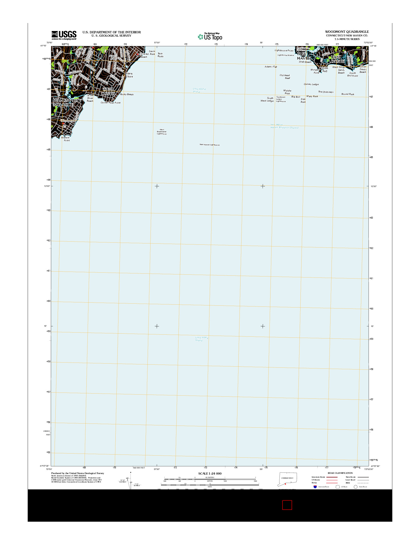 USGS US TOPO 7.5-MINUTE MAP FOR WOODMONT, CT 2012