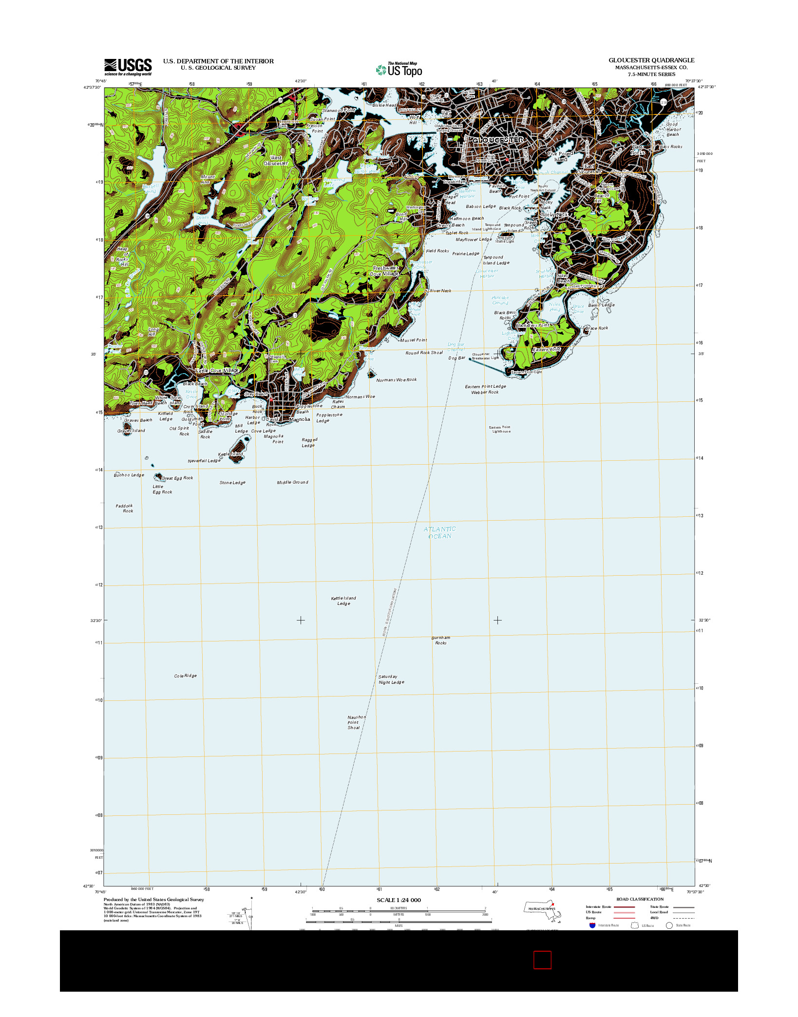 USGS US TOPO 7.5-MINUTE MAP FOR GLOUCESTER, MA 2012