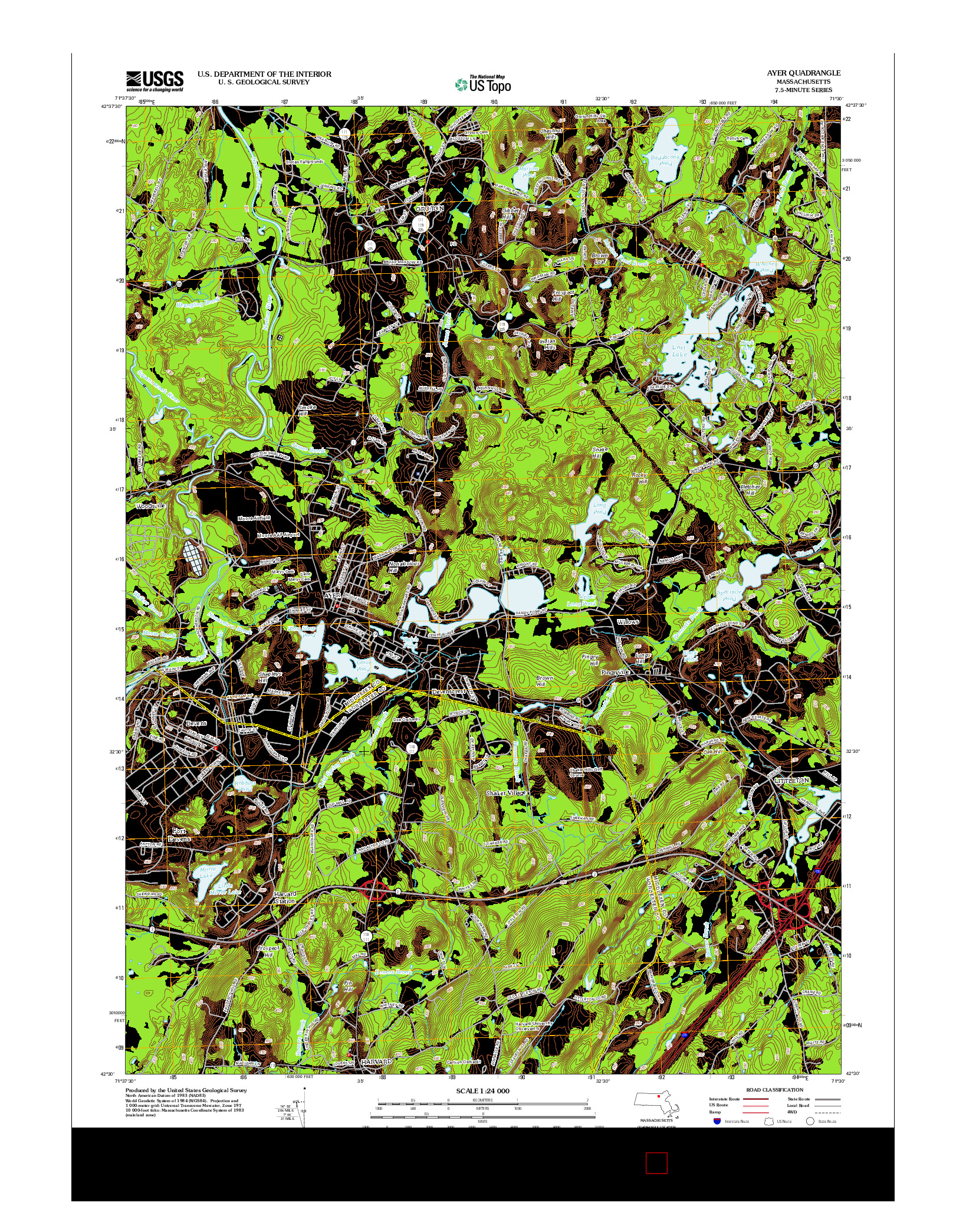 USGS US TOPO 7.5-MINUTE MAP FOR AYER, MA 2012