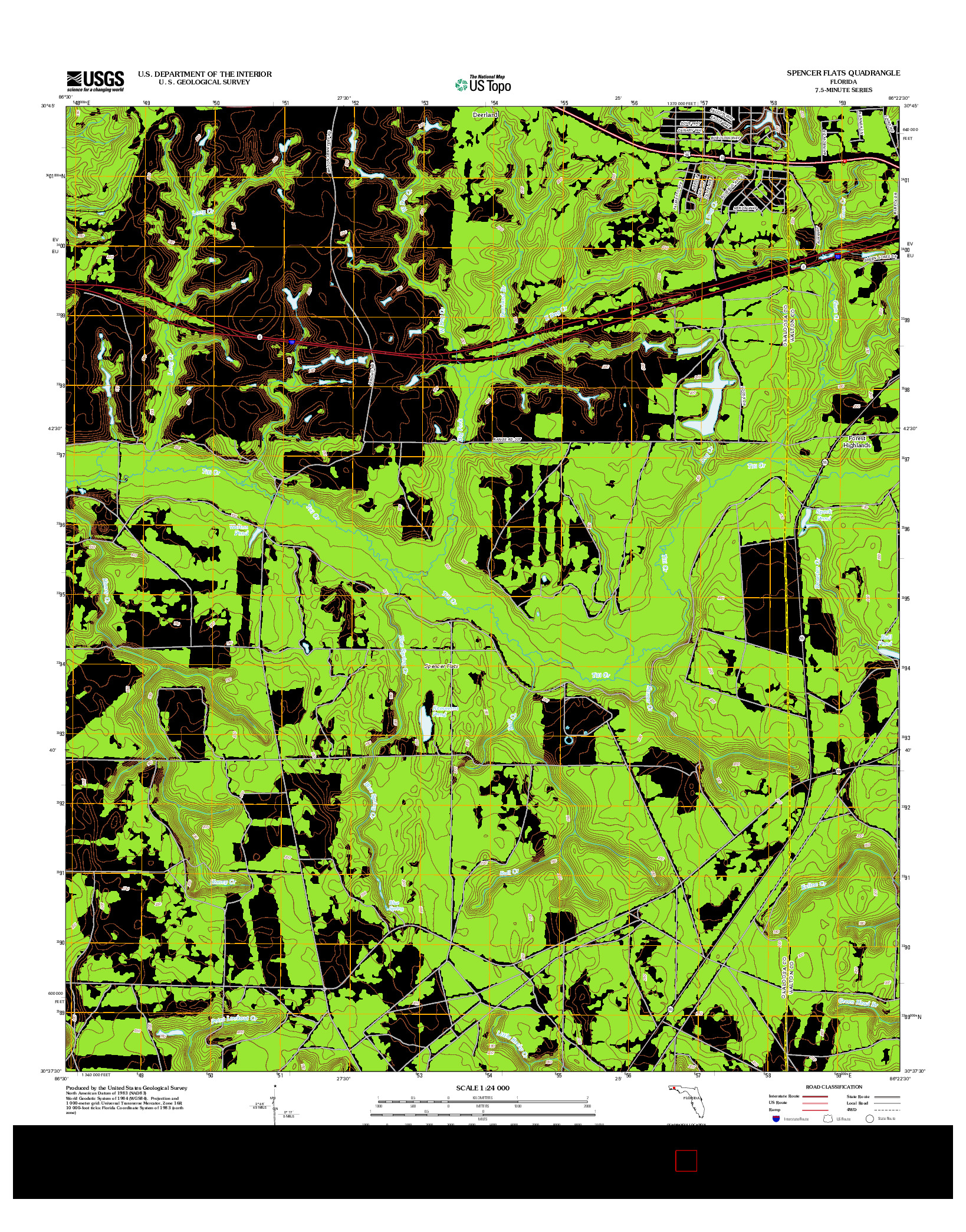 USGS US TOPO 7.5-MINUTE MAP FOR SPENCER FLATS, FL 2012