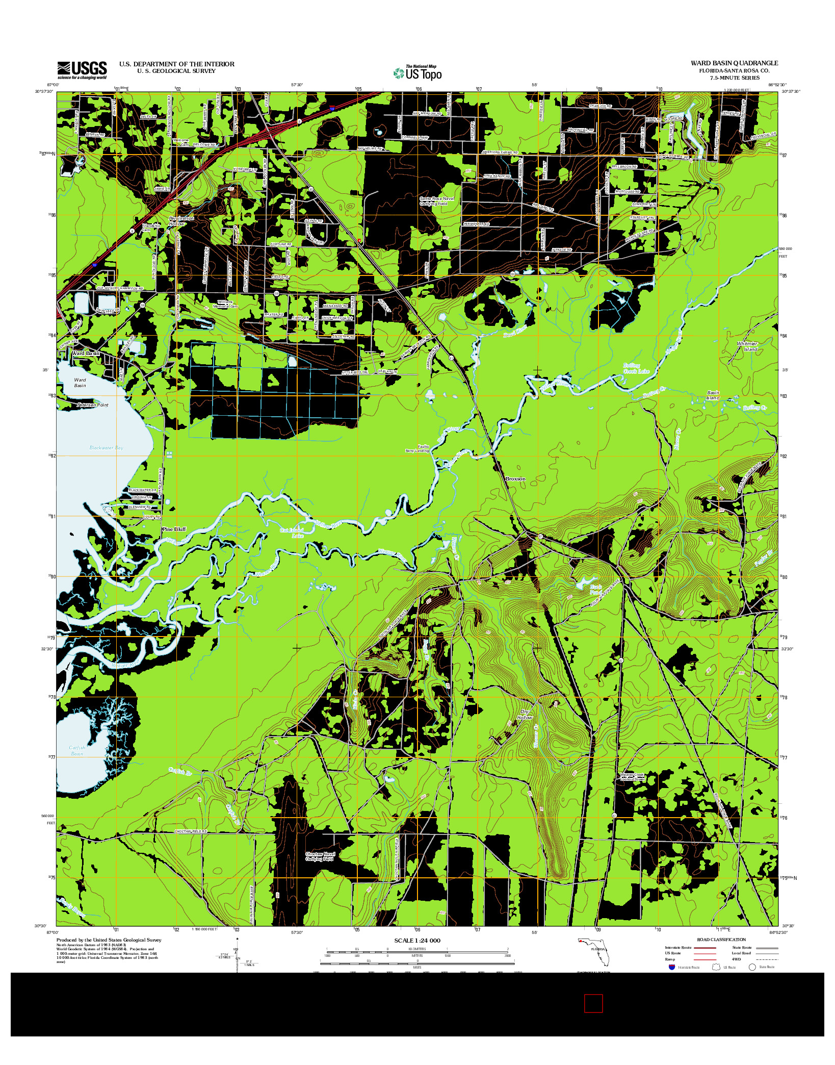 USGS US TOPO 7.5-MINUTE MAP FOR WARD BASIN, FL 2012