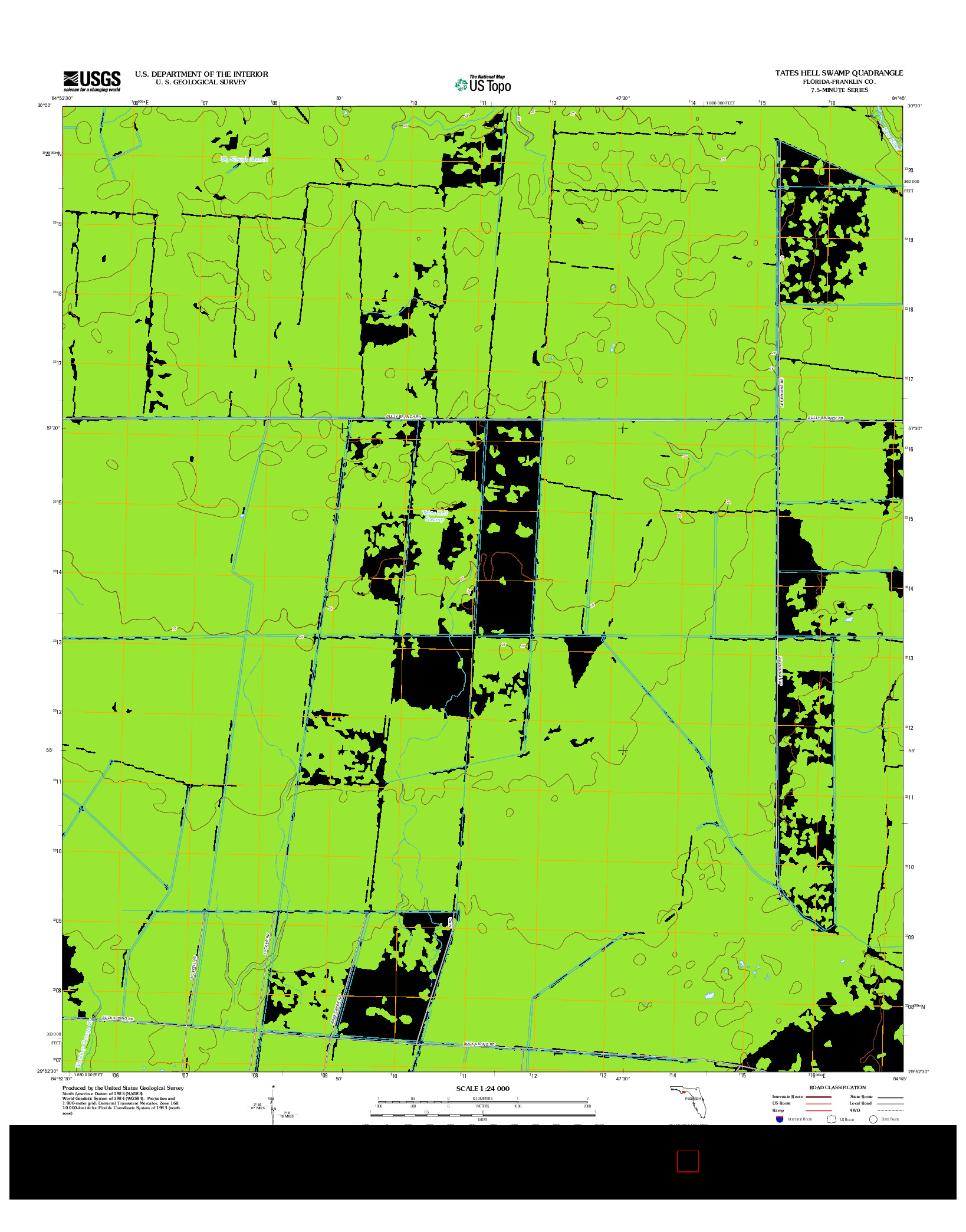 USGS US TOPO 7.5-MINUTE MAP FOR TATES HELL SWAMP, FL 2012