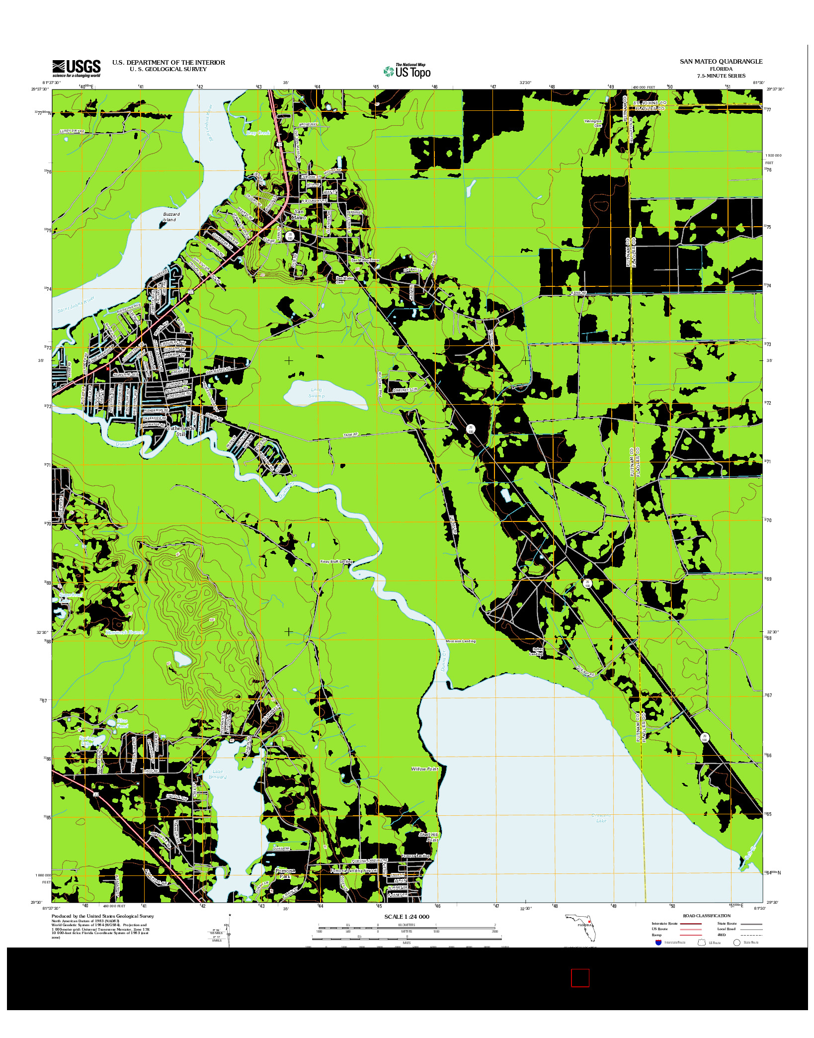 USGS US TOPO 7.5-MINUTE MAP FOR SAN MATEO, FL 2012