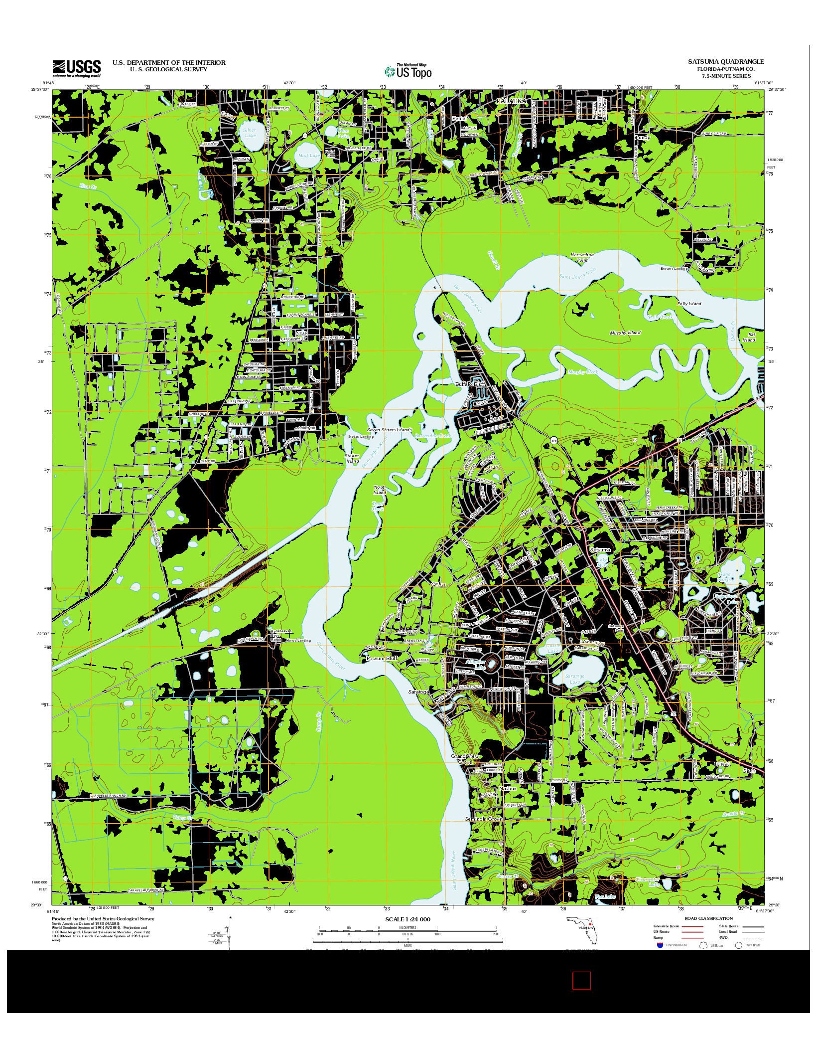 USGS US TOPO 7.5-MINUTE MAP FOR SATSUMA, FL 2012