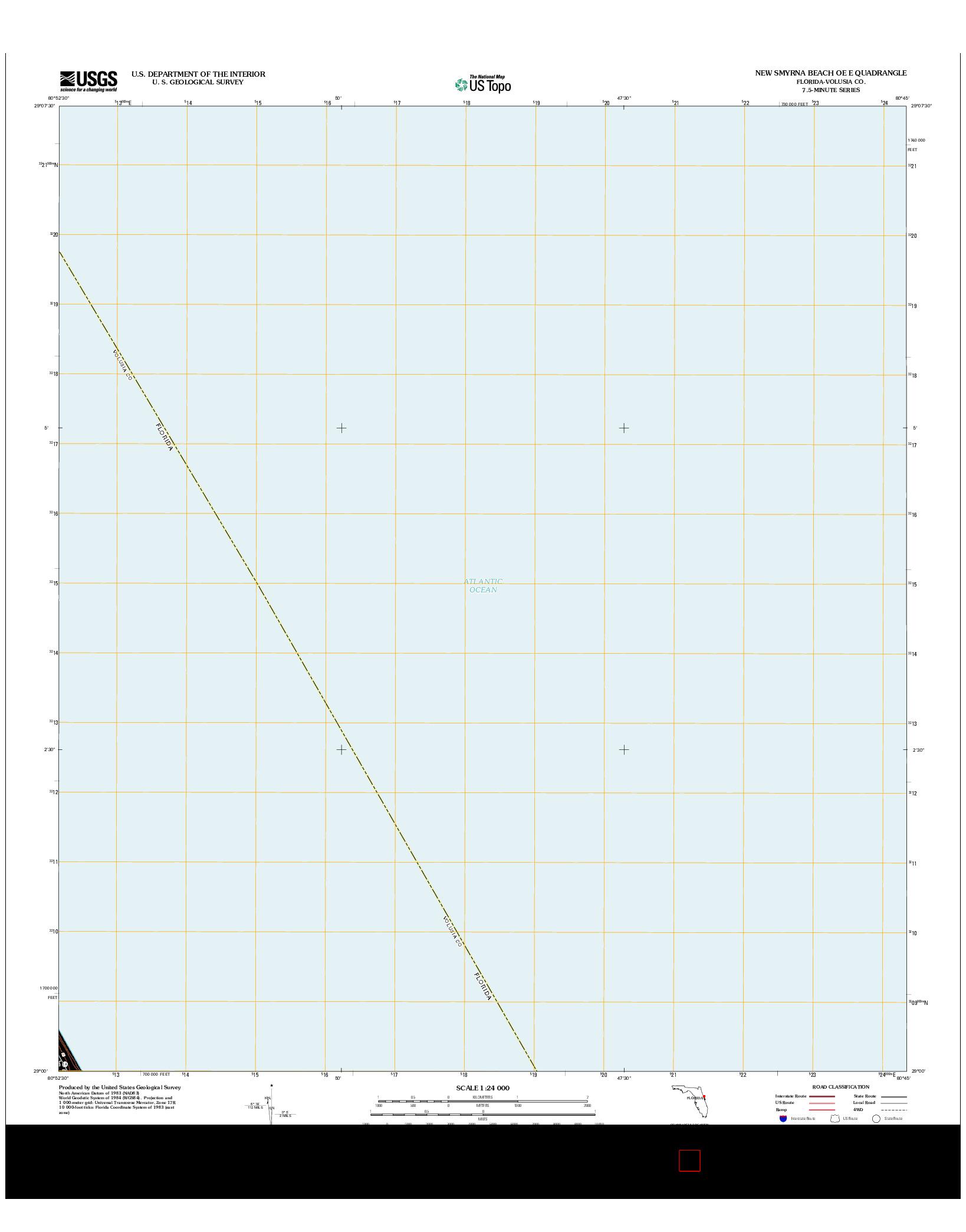 USGS US TOPO 7.5-MINUTE MAP FOR NEW SMYRNA BEACH OE E, FL 2012
