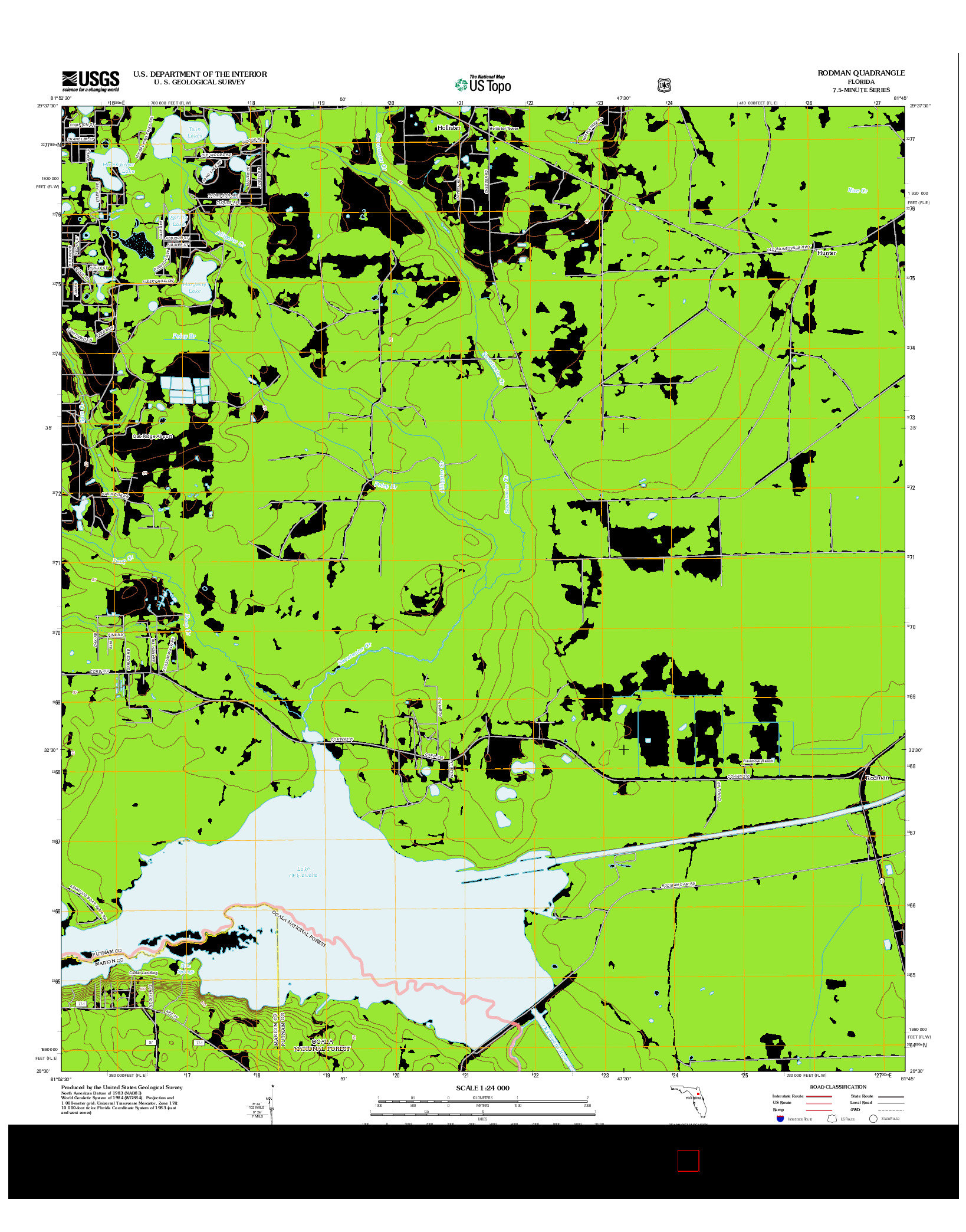 USGS US TOPO 7.5-MINUTE MAP FOR RODMAN, FL 2012