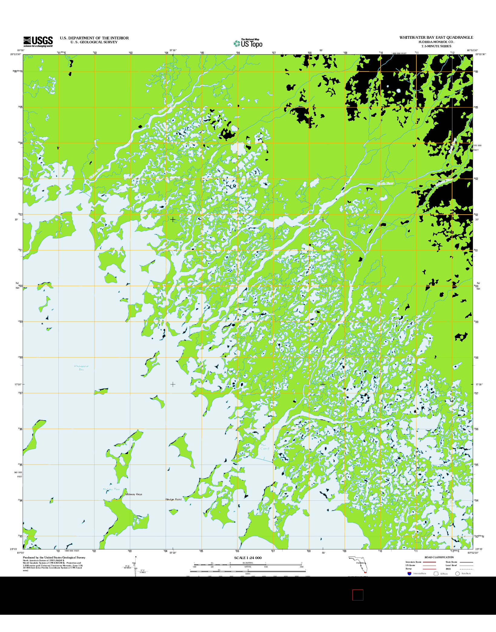 USGS US TOPO 7.5-MINUTE MAP FOR WHITEWATER BAY EAST, FL 2012