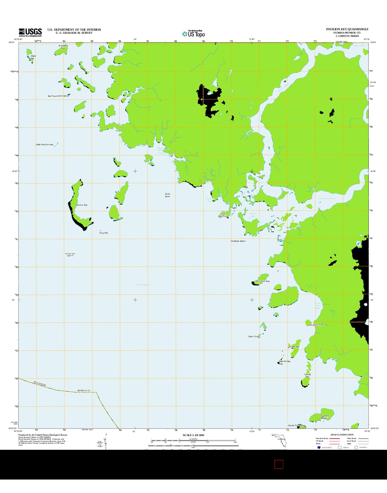 USGS US TOPO 7.5-MINUTE MAP FOR PAVILION KEY, FL 2012