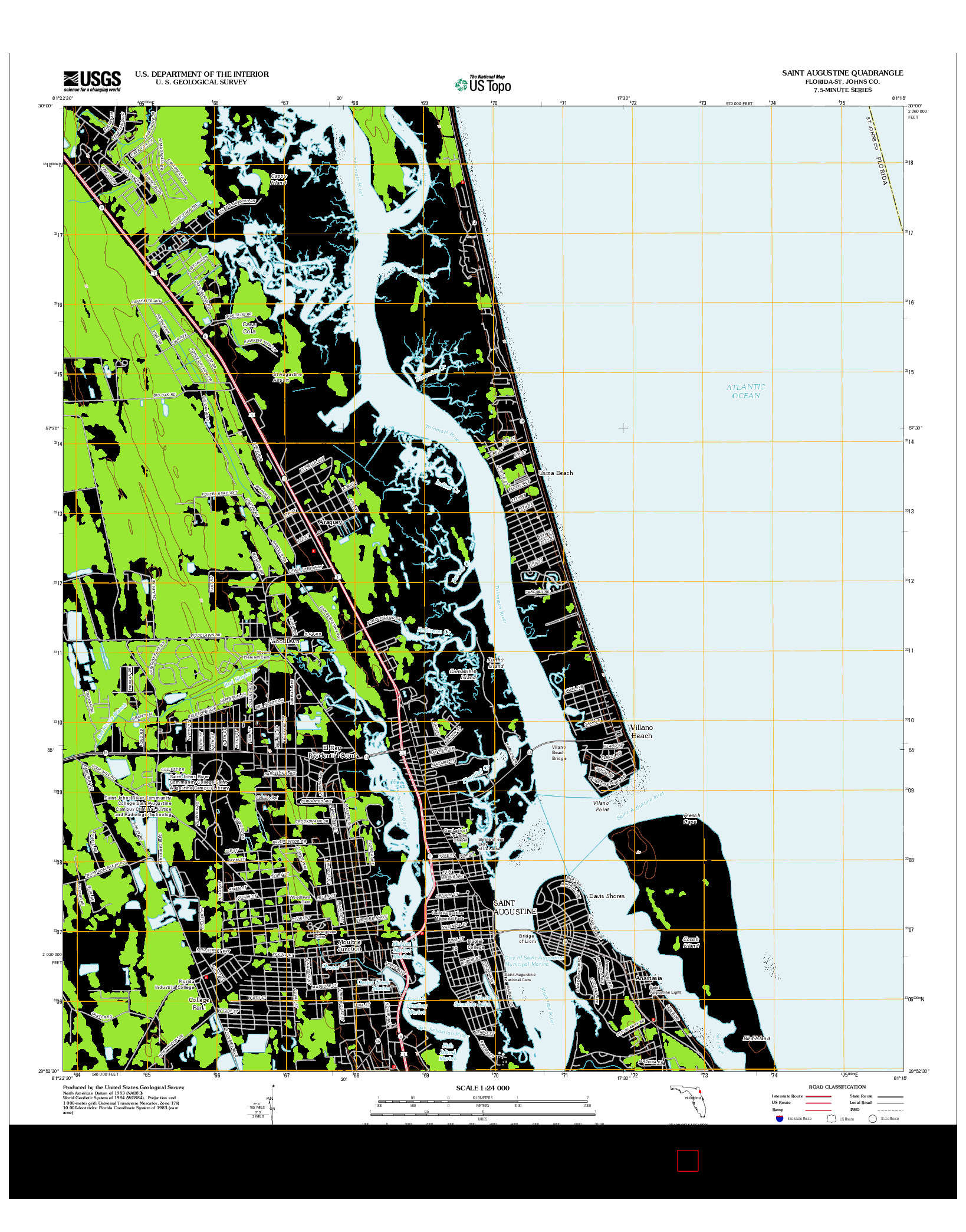USGS US TOPO 7.5-MINUTE MAP FOR SAINT AUGUSTINE, FL 2012