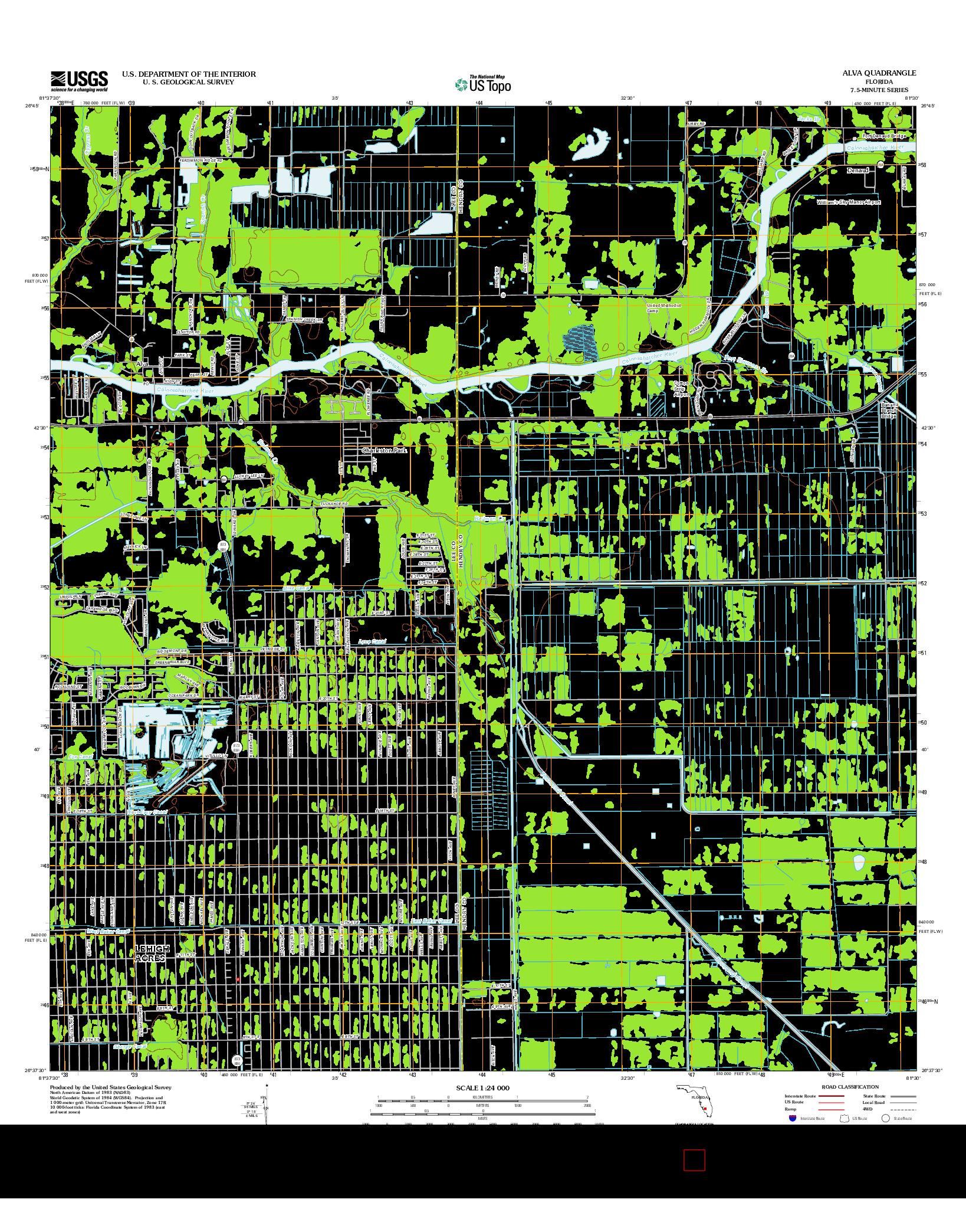 USGS US TOPO 7.5-MINUTE MAP FOR ALVA, FL 2012