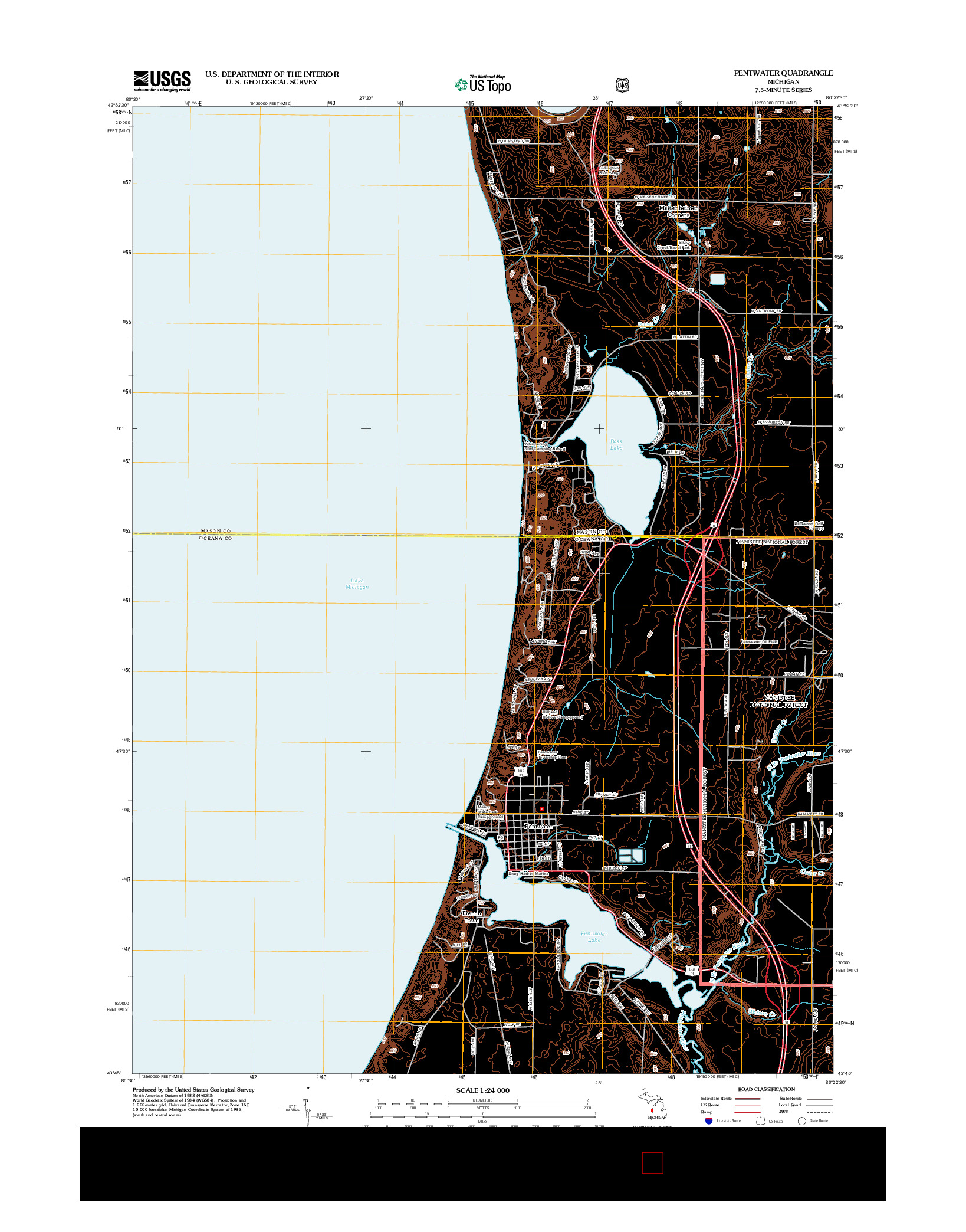 USGS US TOPO 7.5-MINUTE MAP FOR PENTWATER, MI 2012