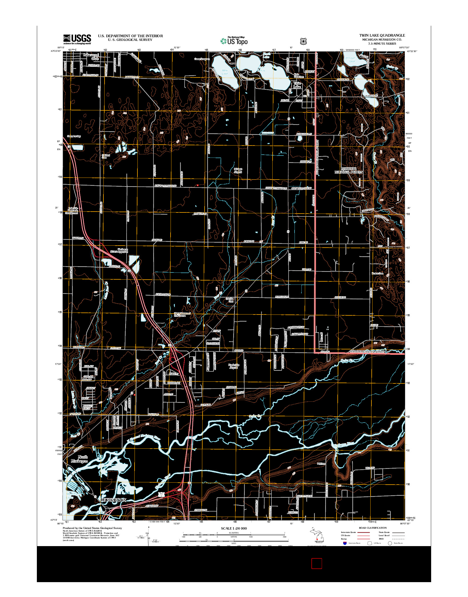 USGS US TOPO 7.5-MINUTE MAP FOR TWIN LAKE, MI 2012