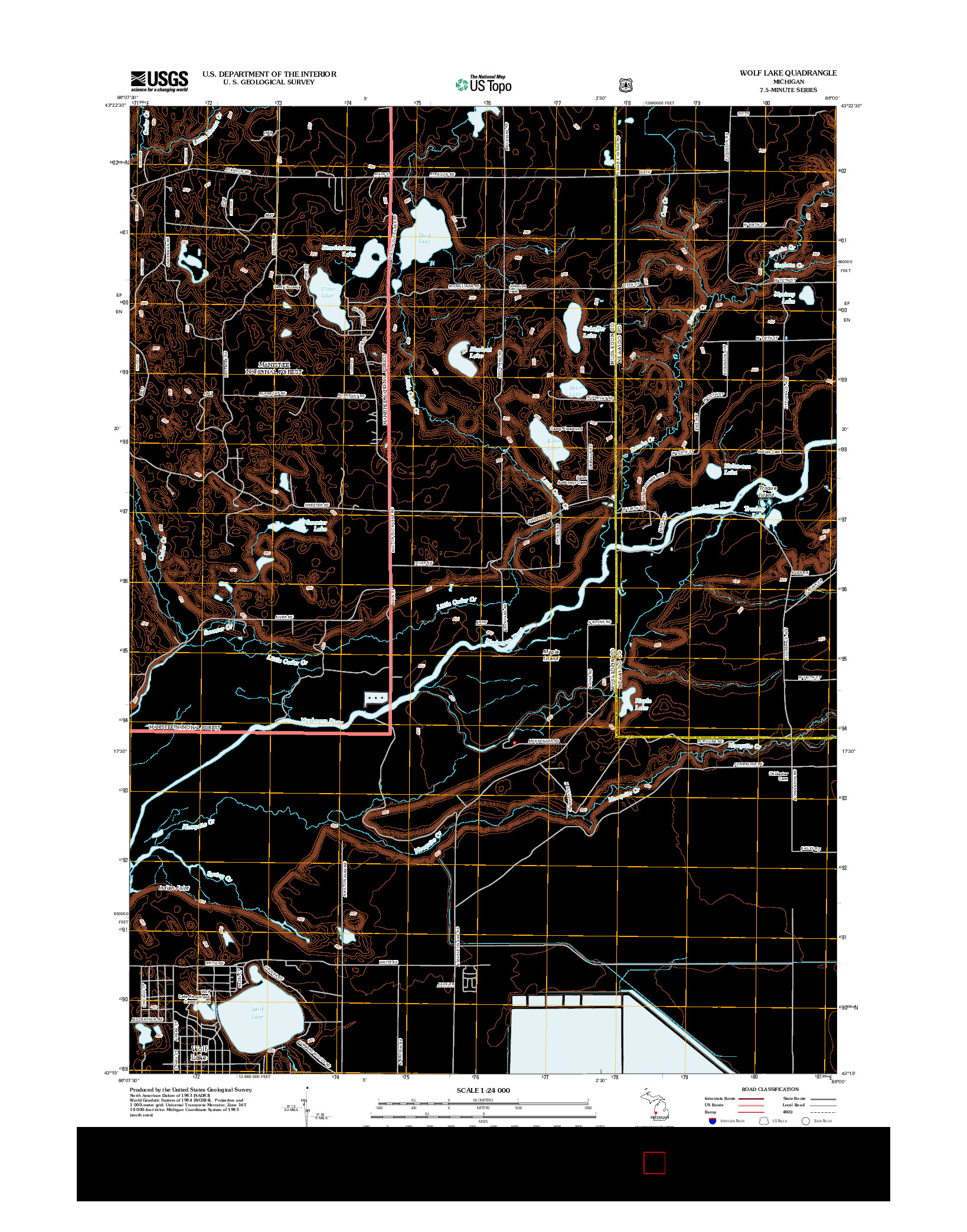 USGS US TOPO 7.5-MINUTE MAP FOR WOLF LAKE, MI 2012