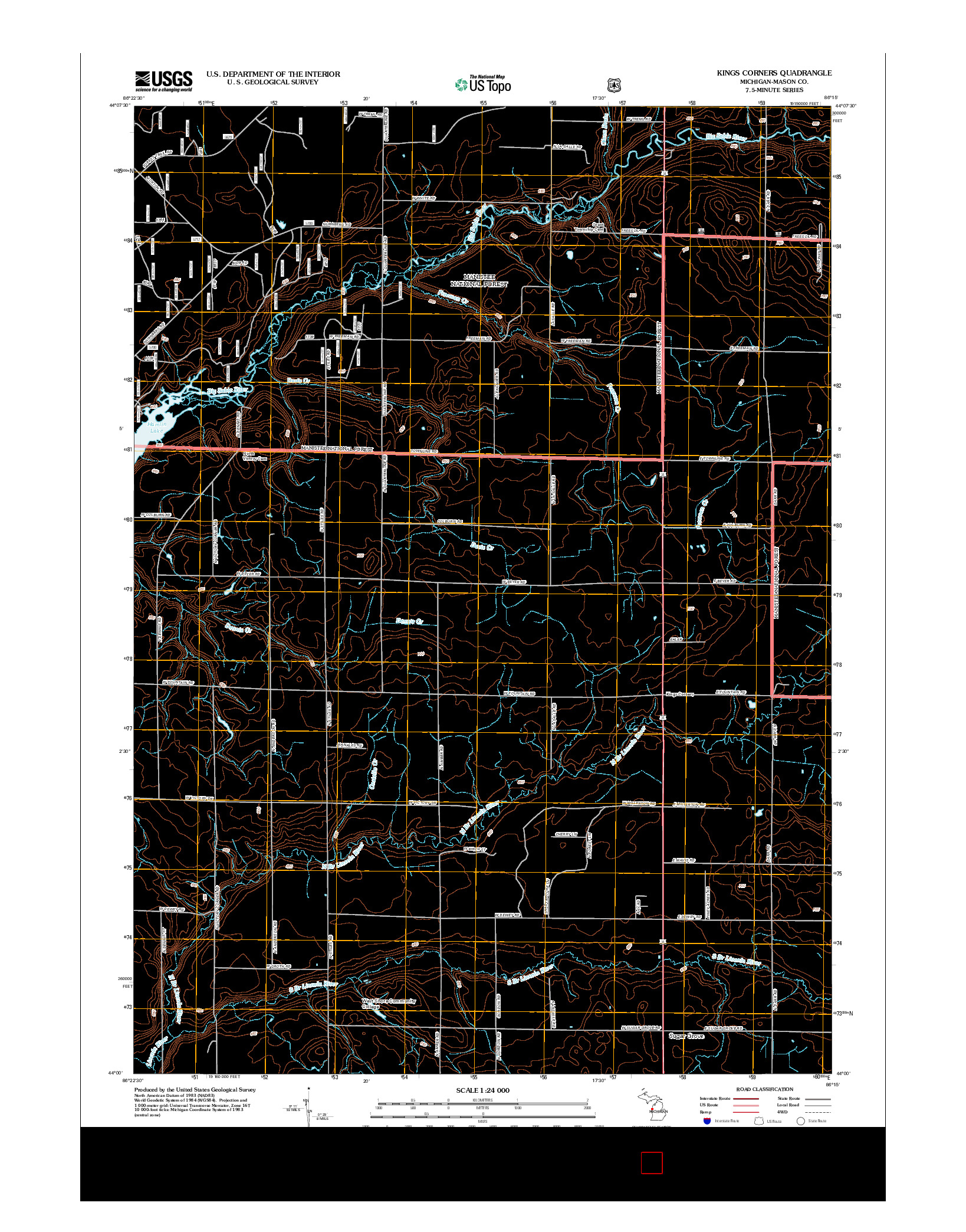 USGS US TOPO 7.5-MINUTE MAP FOR KINGS CORNERS, MI 2012