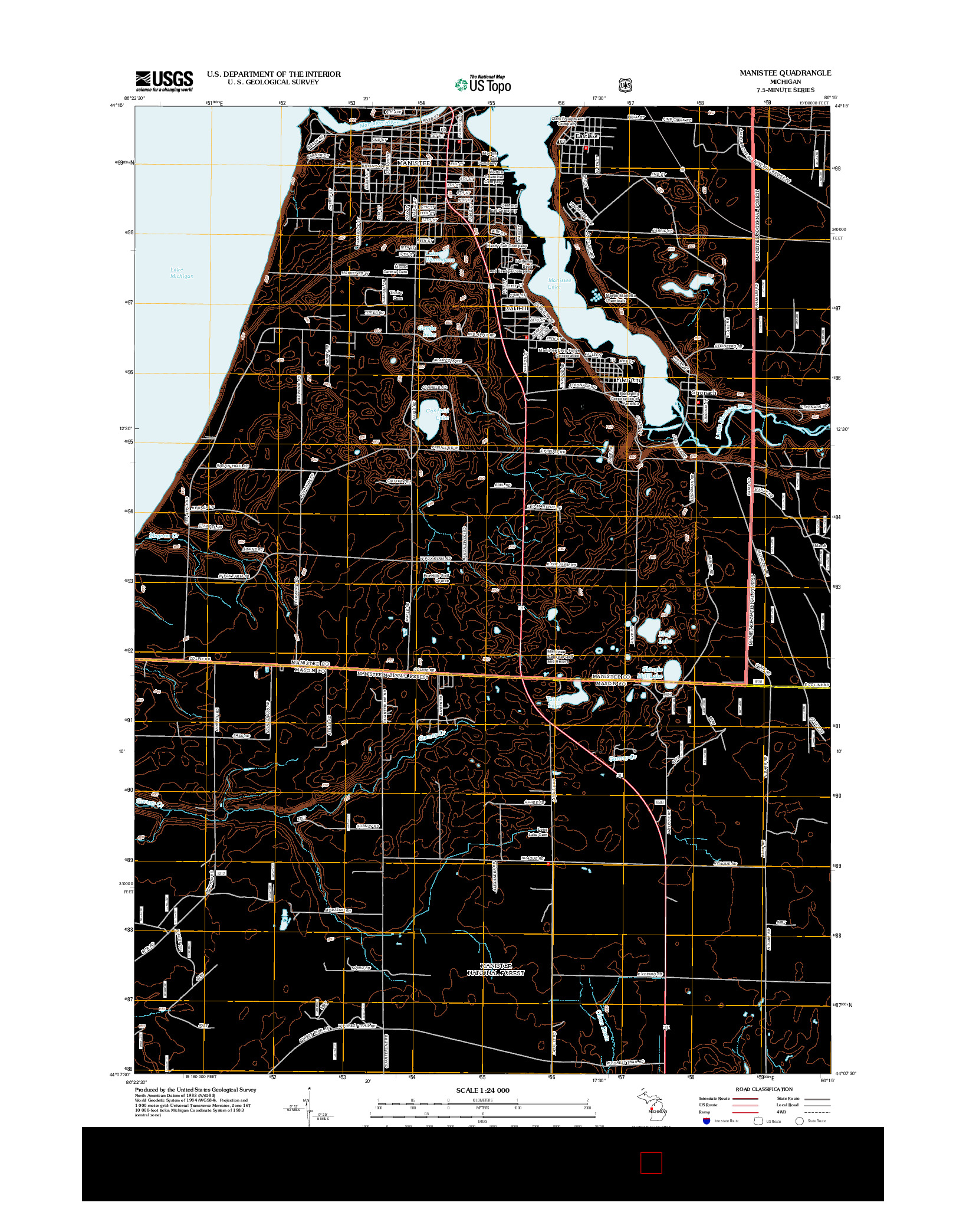 USGS US TOPO 7.5-MINUTE MAP FOR MANISTEE, MI 2012