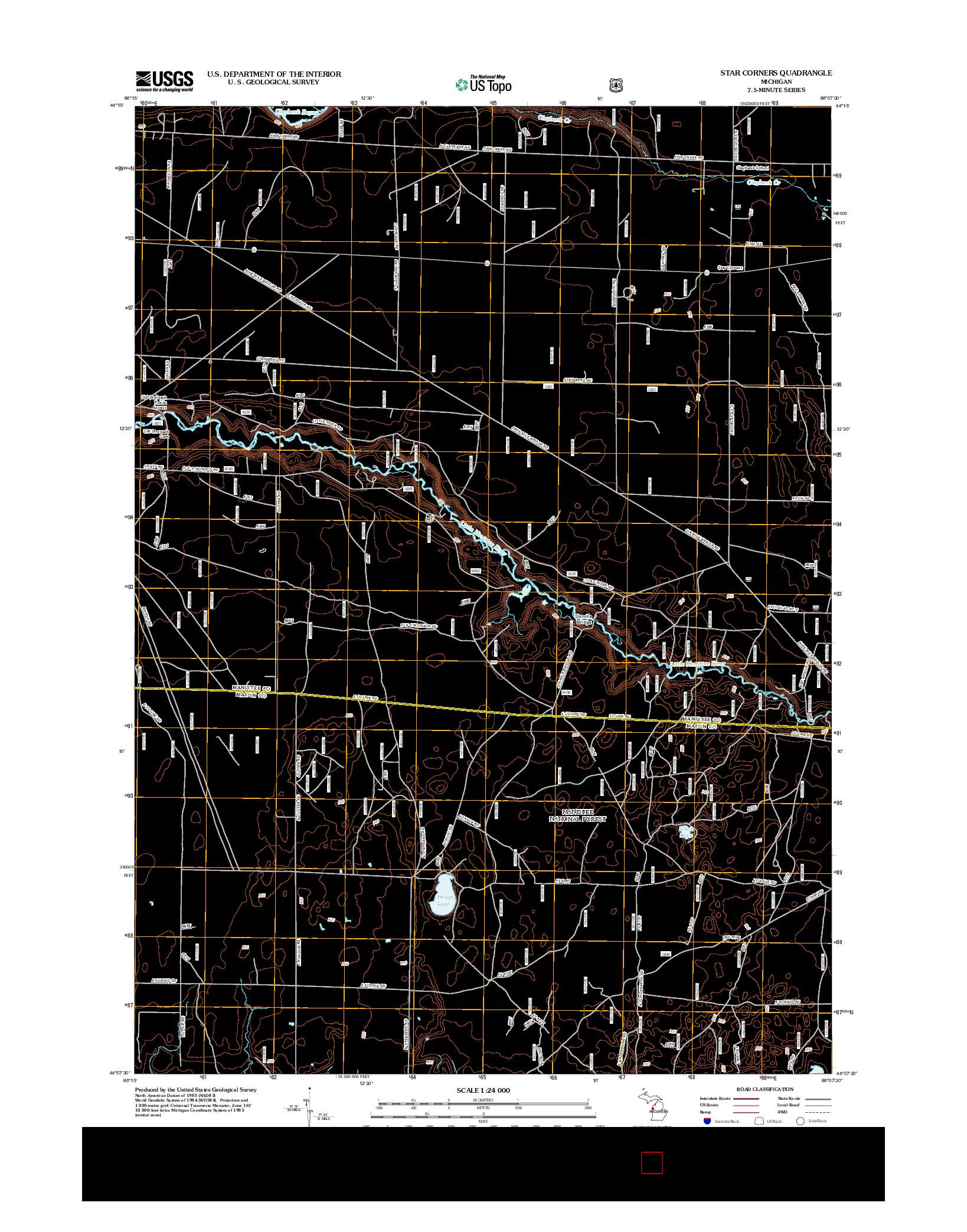 USGS US TOPO 7.5-MINUTE MAP FOR STAR CORNERS, MI 2012