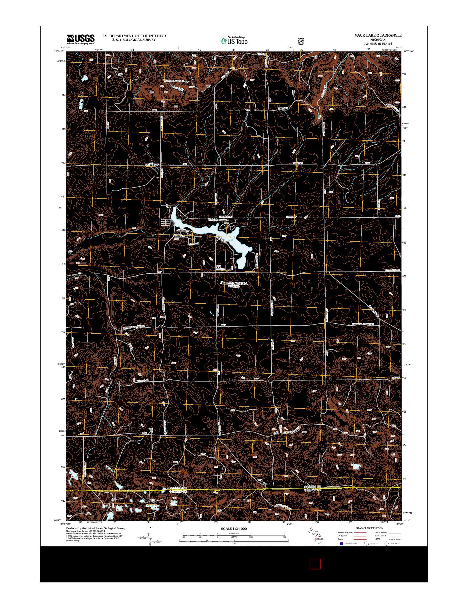 USGS US TOPO 7.5-MINUTE MAP FOR MACK LAKE, MI 2012