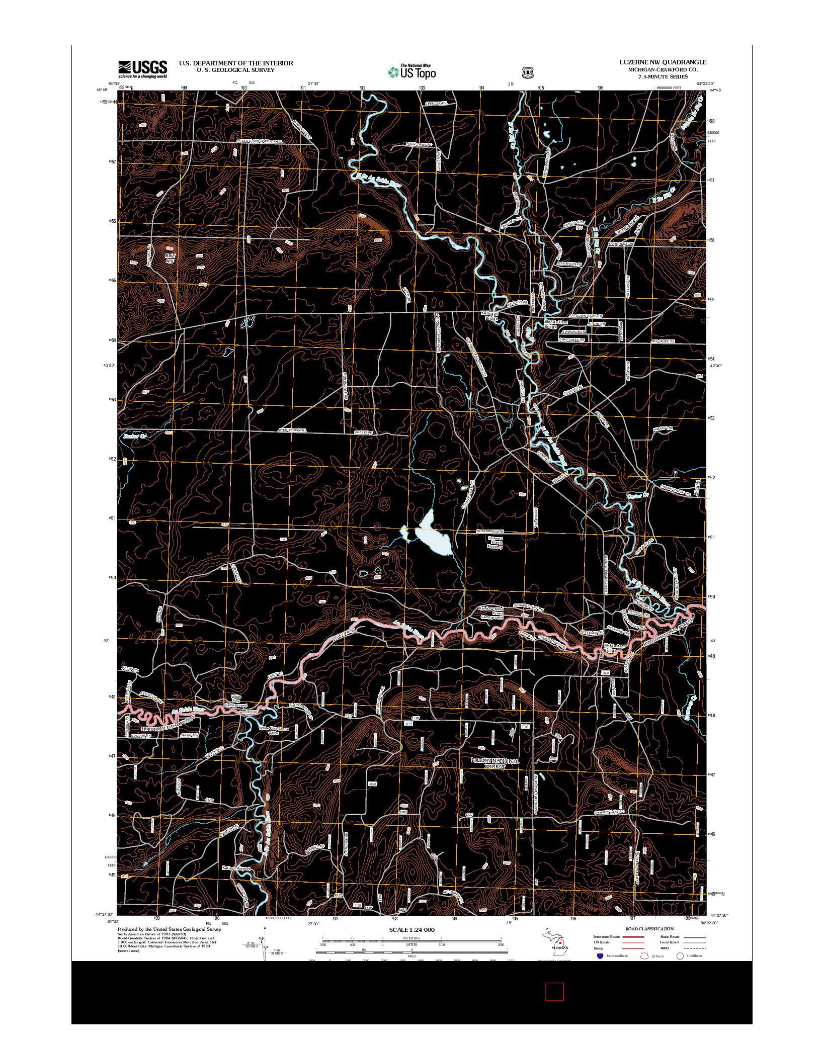 USGS US TOPO 7.5-MINUTE MAP FOR LUZERNE NW, MI 2012