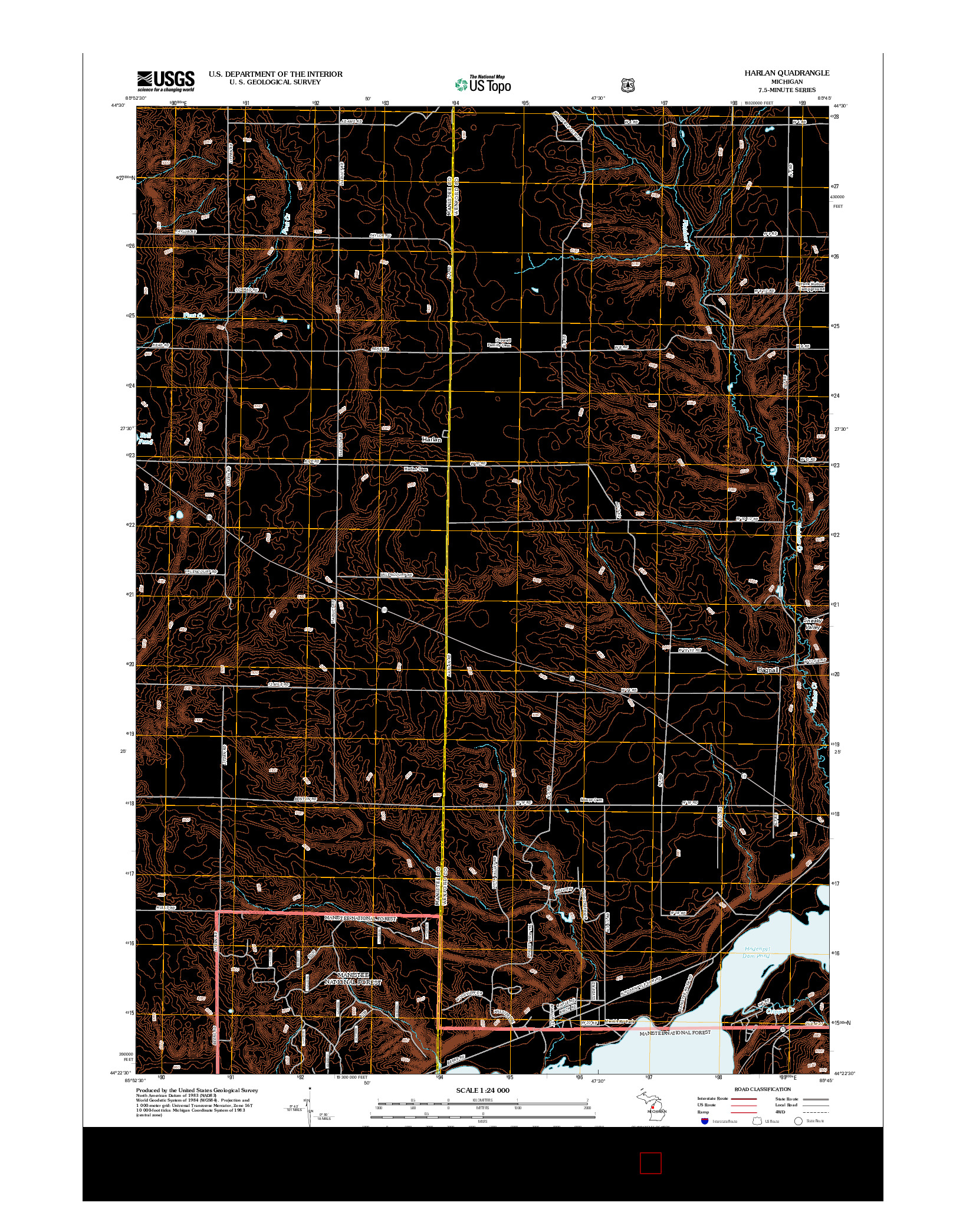 USGS US TOPO 7.5-MINUTE MAP FOR HARLAN, MI 2012
